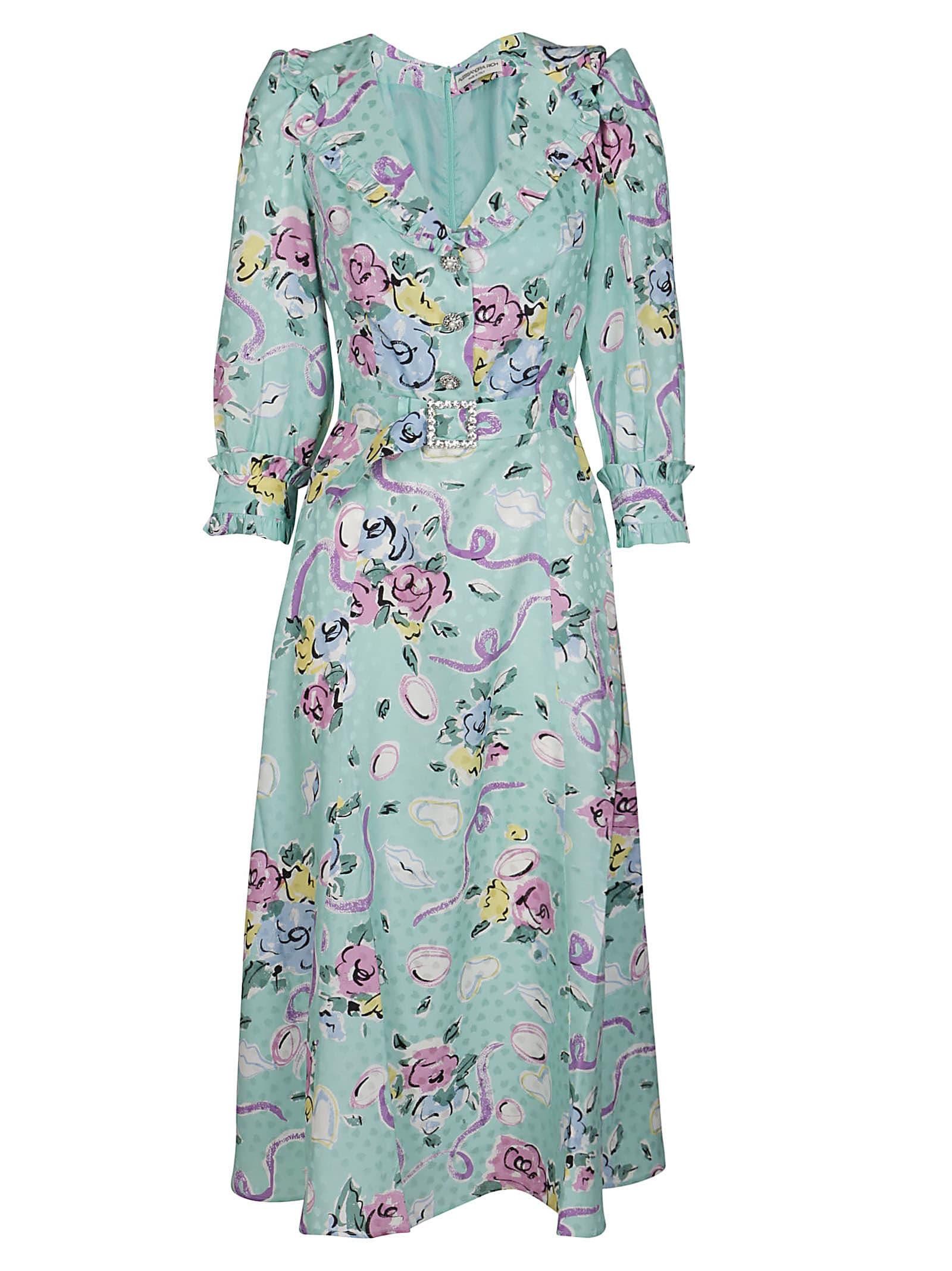 Alessandra Rich Maxi dresses MINT-GREEN SILK DRESS
