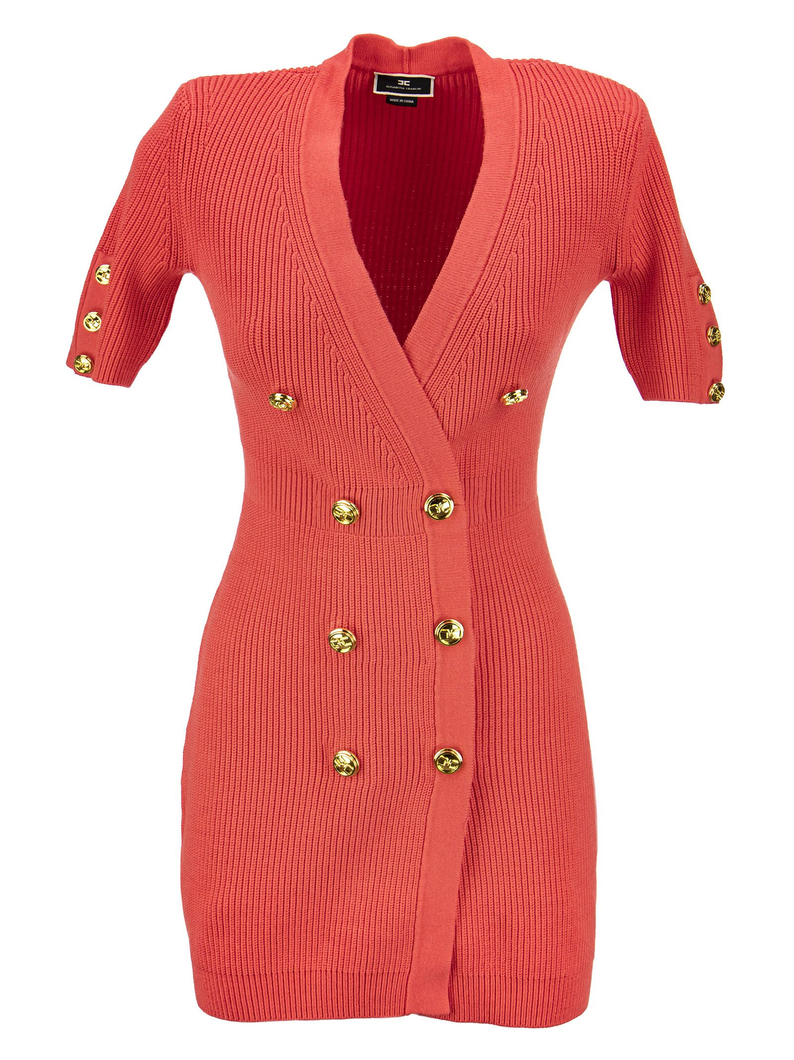 Buy Elisabetta Franchi Mini Coat Dress In Knit Fabric online, shop Elisabetta Franchi with free shipping