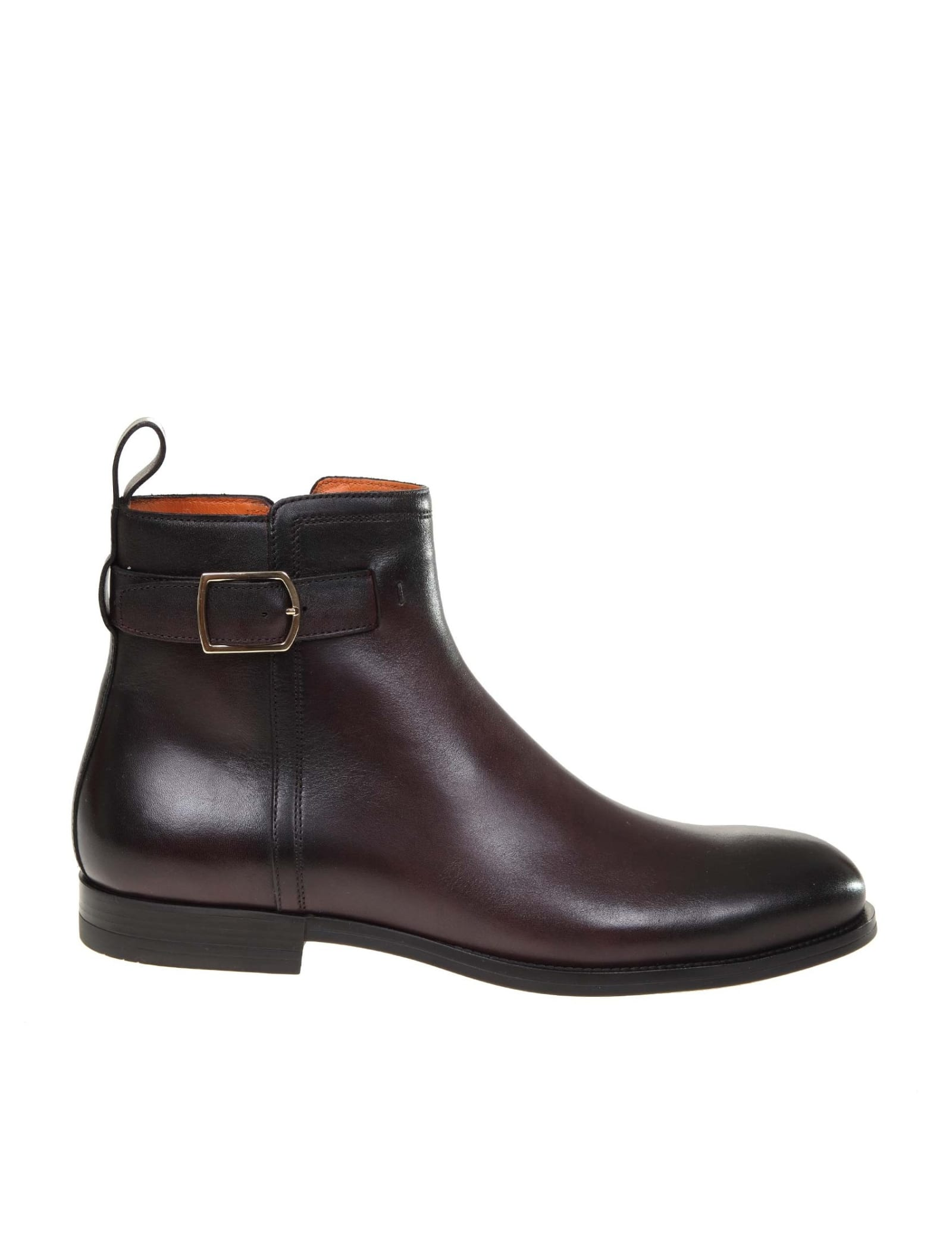 Santoni Ankle Boot In Leather And Brown Color