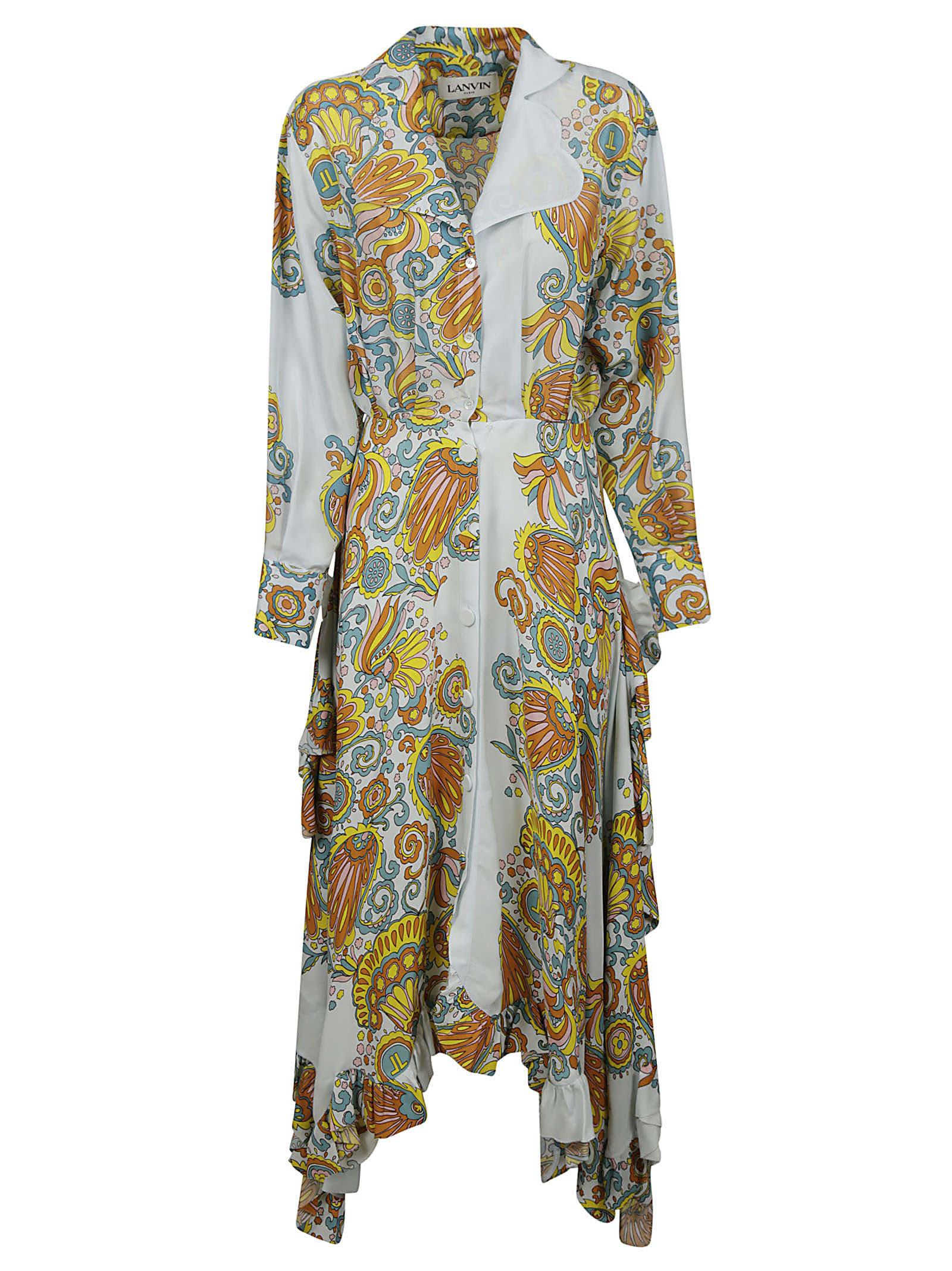Buy Lanvin Asymmetric Printed Shirt Dress online, shop Lanvin with free shipping