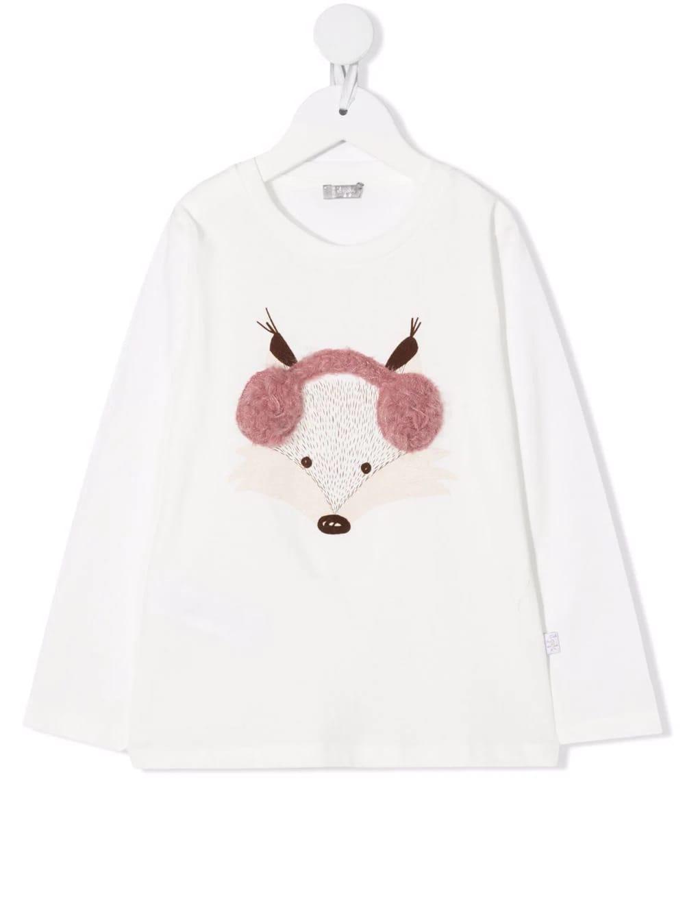 Kids White T-shirt Fox Print With Headphones