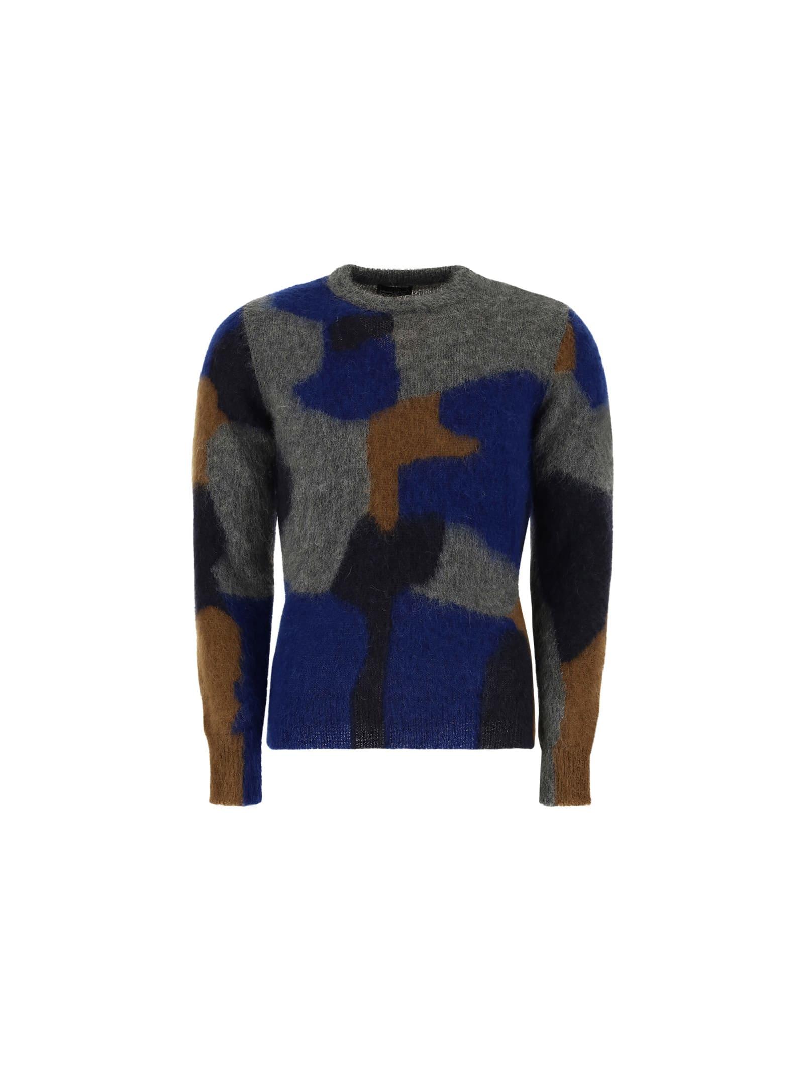Roberto Collina Sweater In Blu/grigio