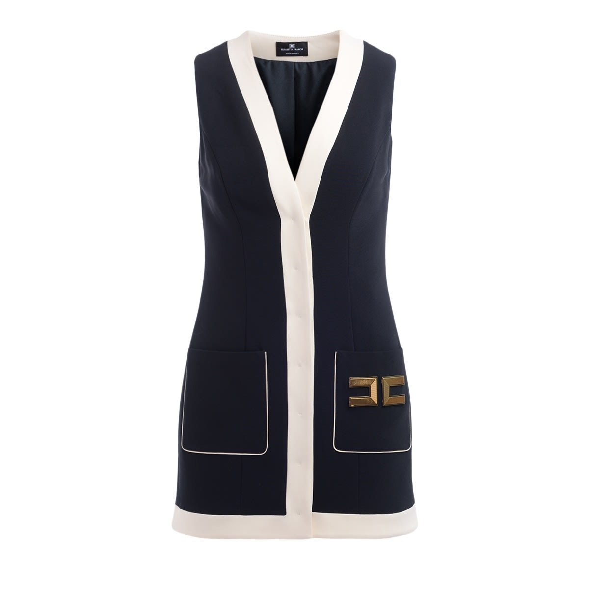 Buy Sleeveless Elisabetta Franchi Black Dress With Contrasting Bands online, shop Elisabetta Franchi Celyn B. with free shipping
