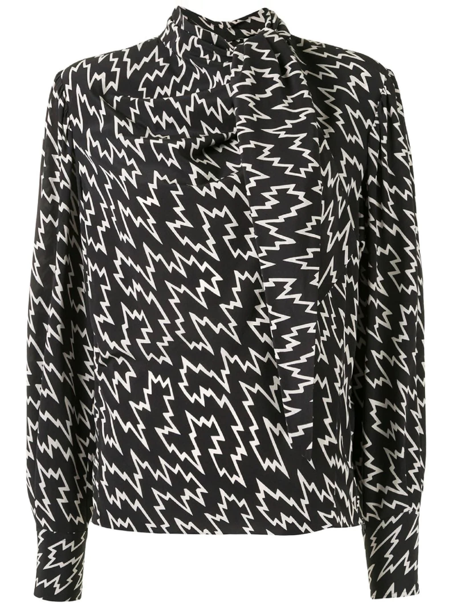 Isabel Marant Black Stretch Silk Blouse In Fantasia