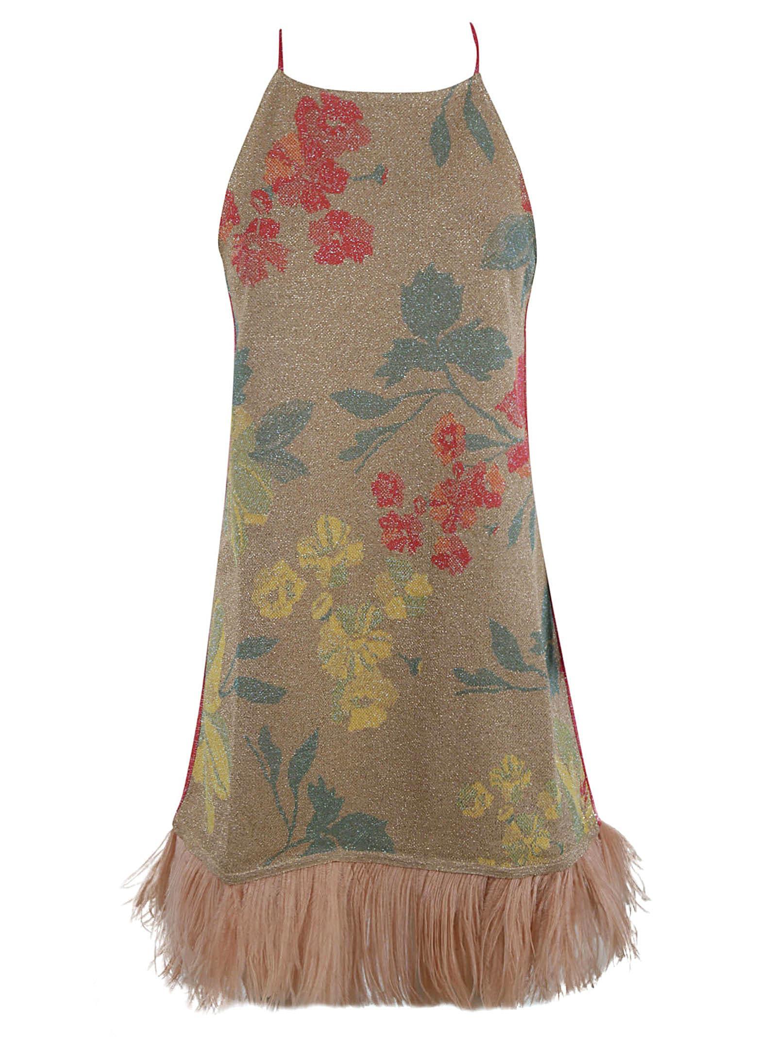 Floral Print Fringed Hem Short Dress