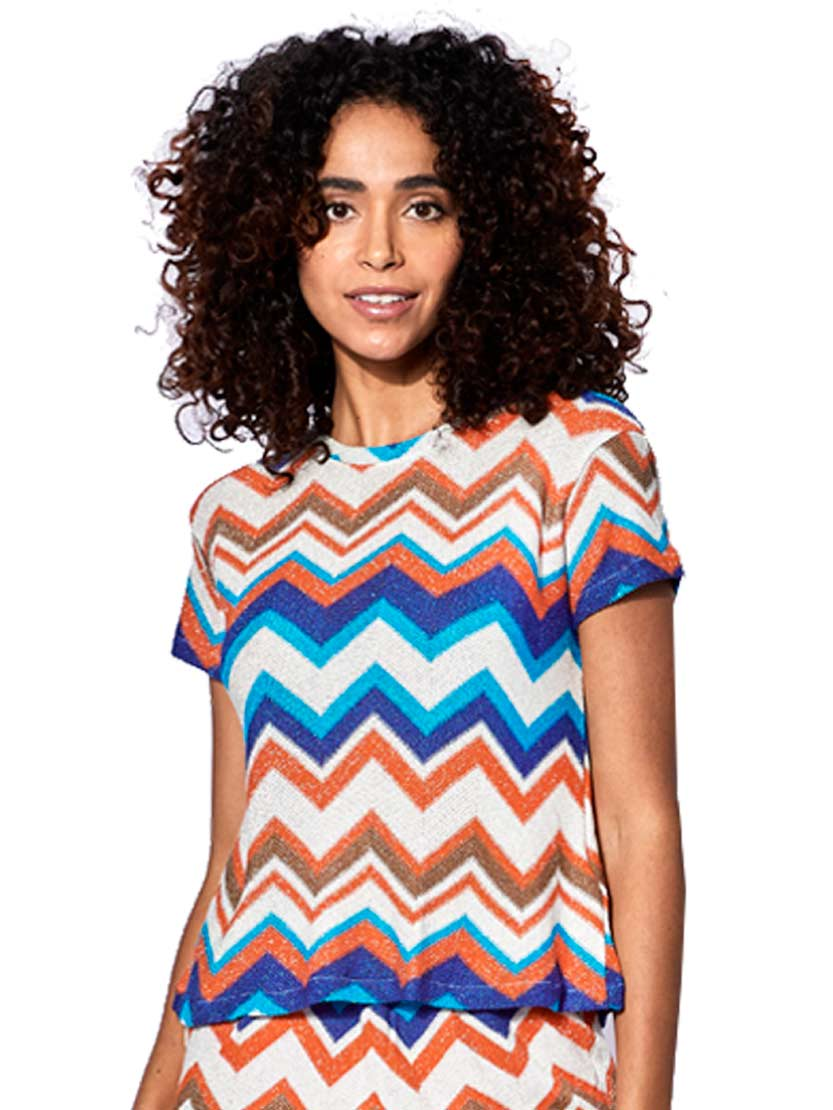 Orange And Bluette Chevron Knitted Top