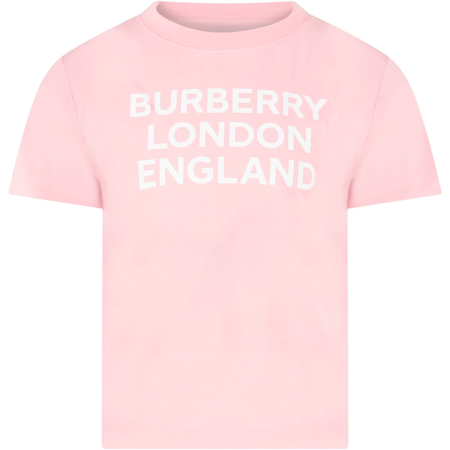 Burberry PINK T-SHIRT FOR GIRL WITH LOGO