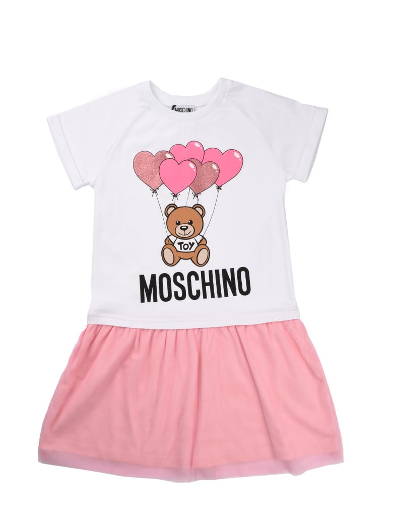 Buy Moschino White Dress With Pink Tulle Skirt online, shop Moschino with free shipping