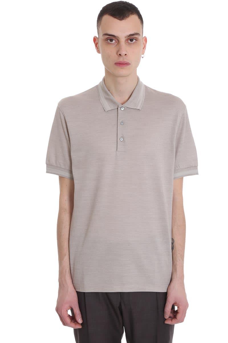 Ermenegildo Zegna Polo In Beige Cotton