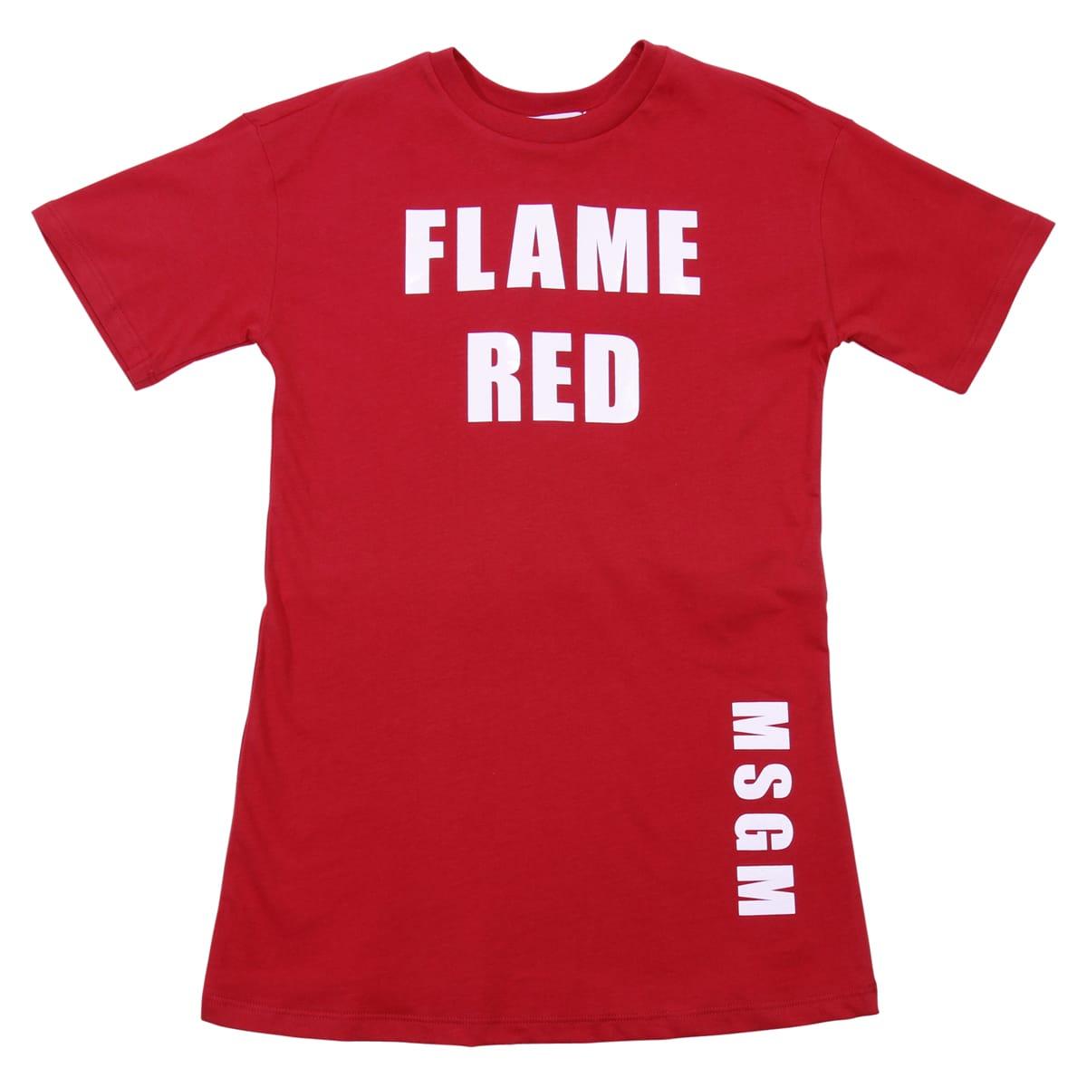 MSGM Red Cotton Jersey Dress