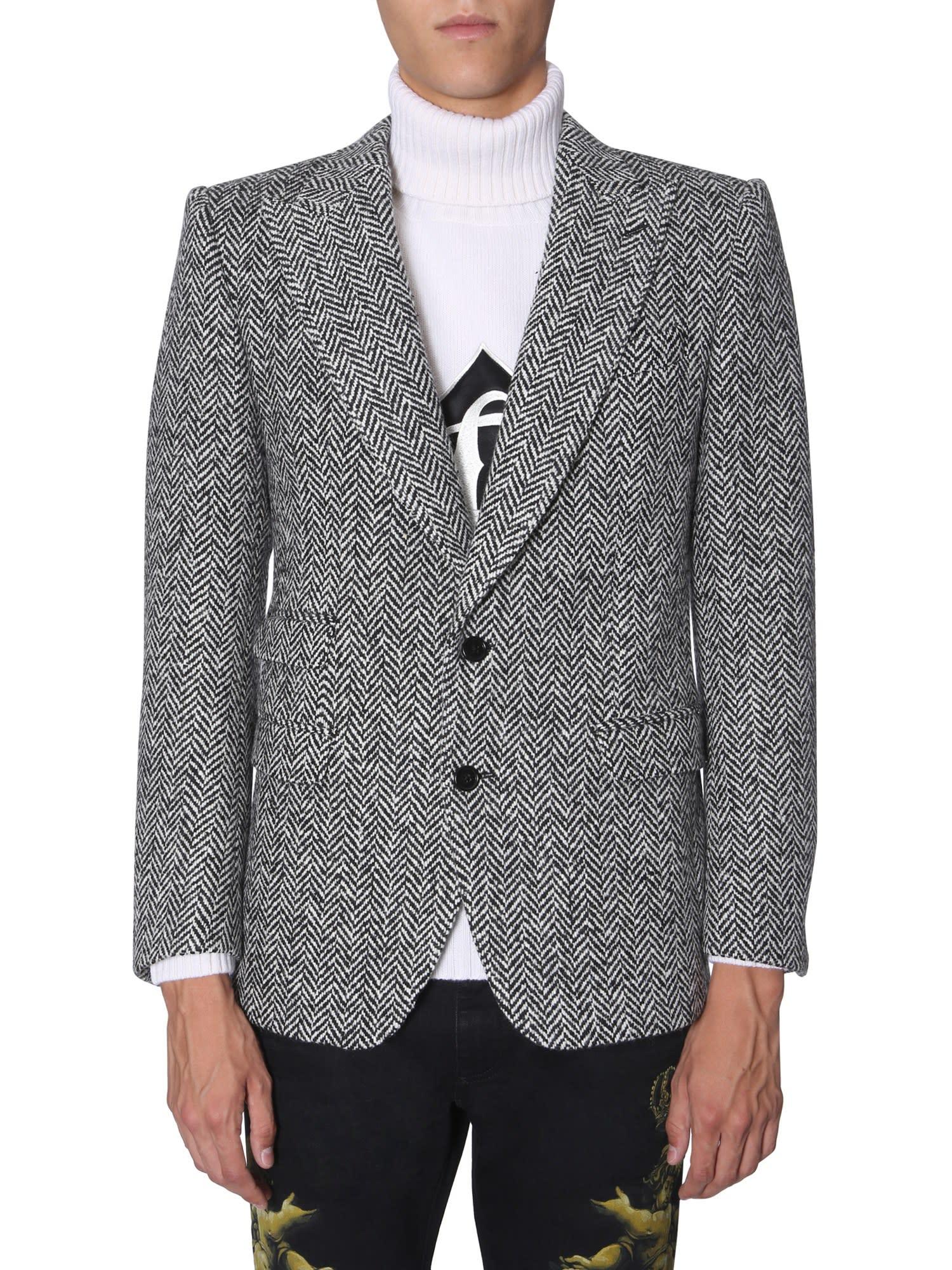 Dolce & Gabbana Two Buttons Herringbone Jacket