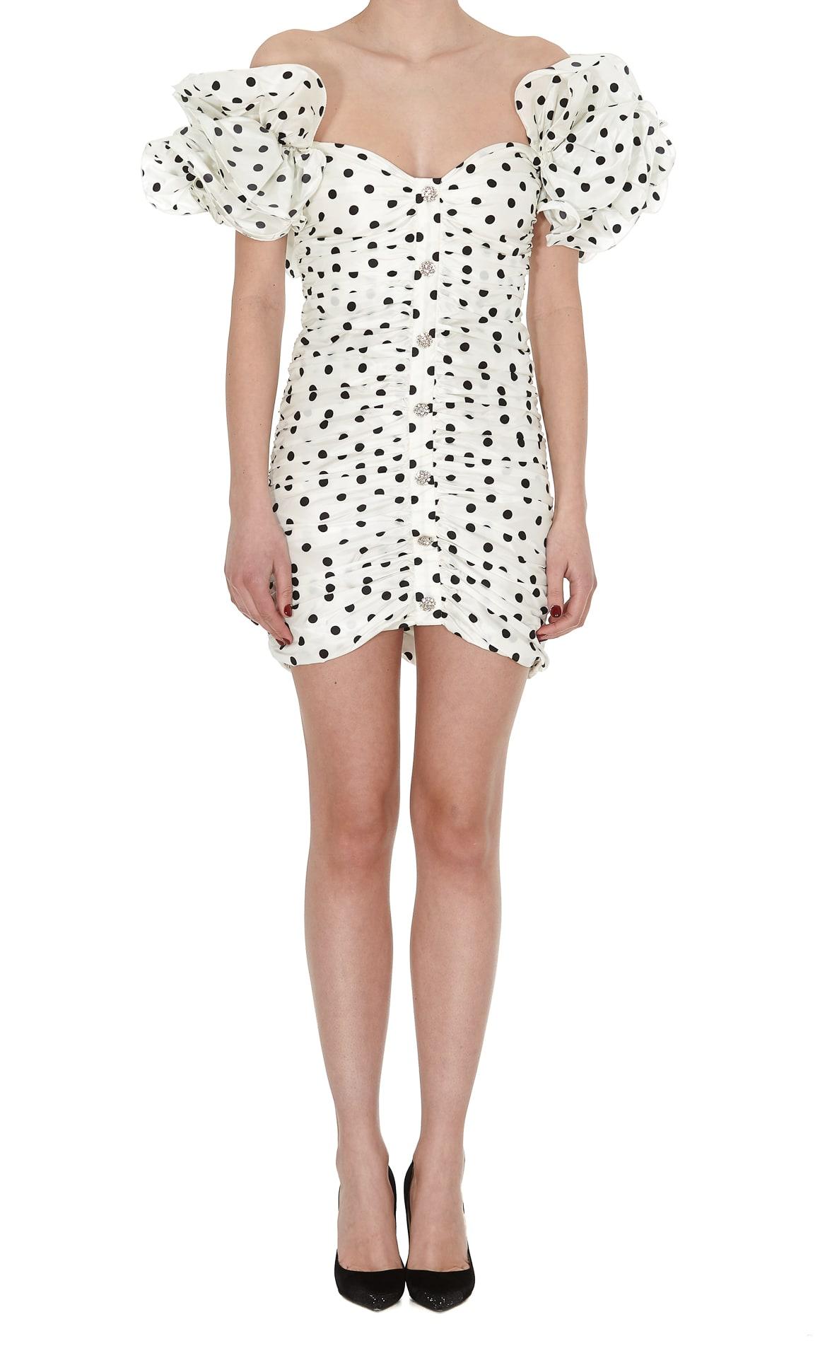 Buy Alessandra Rich Polka Dot Taffeta Mini Dress online, shop Alessandra Rich with free shipping