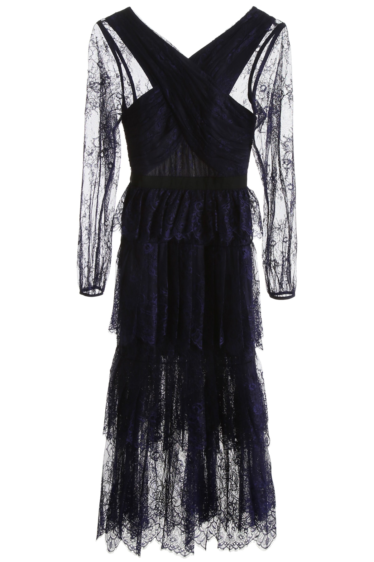 self-portrait Fine Lace Midi Dress