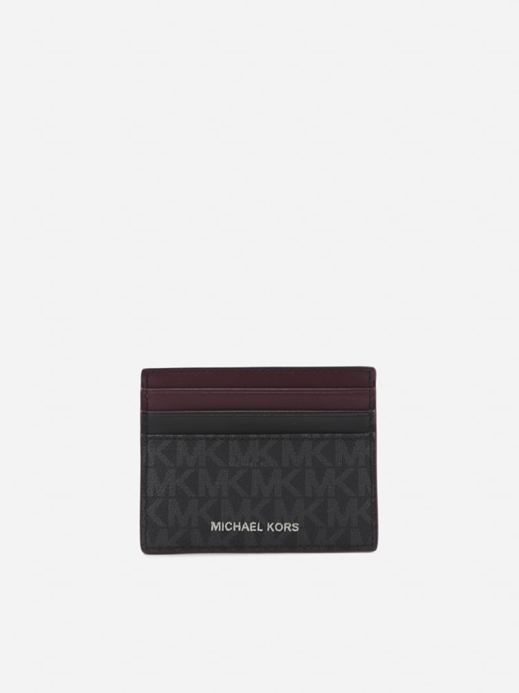 Michael Kors Hudson Card Holder In Leather With All-over Monogram Print In Black