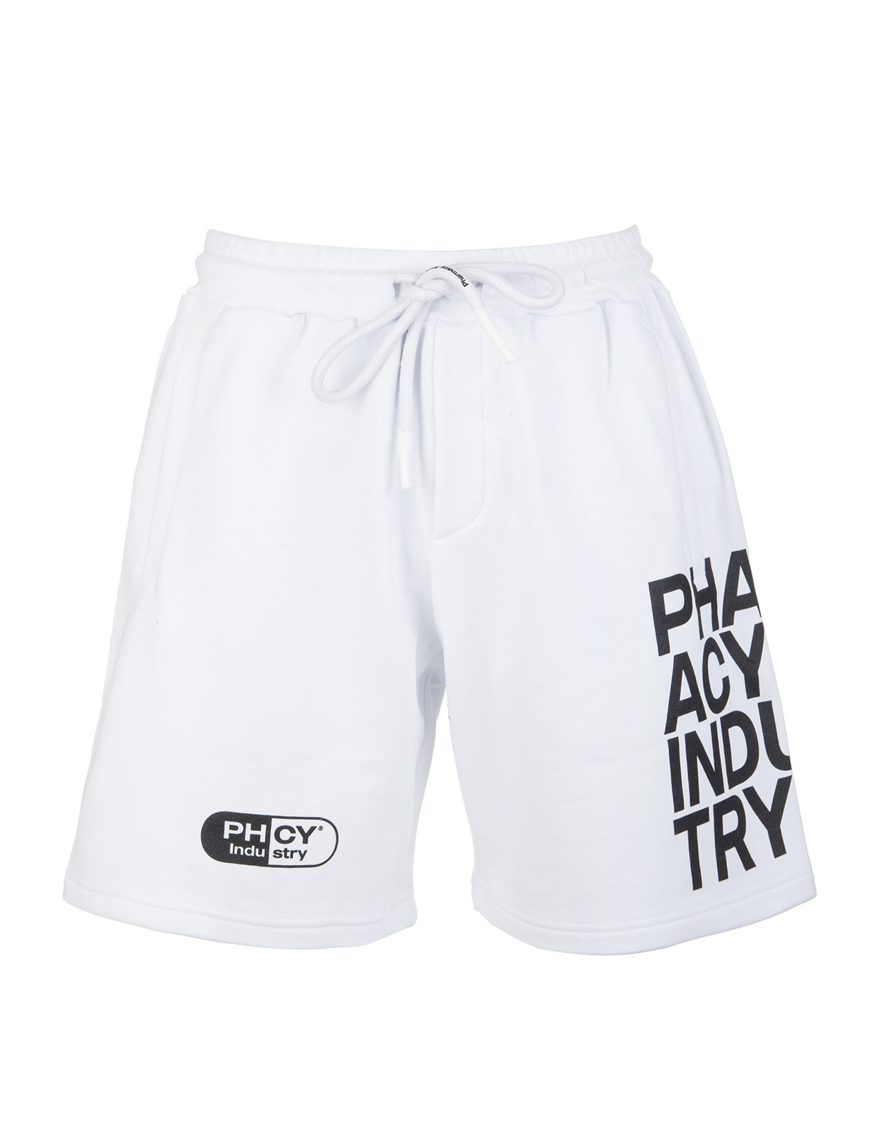 Pharmacy Industry Cottons MAN WHITE SPORTS BERMUDA SHORTS WITH CONTRAST LOGOS