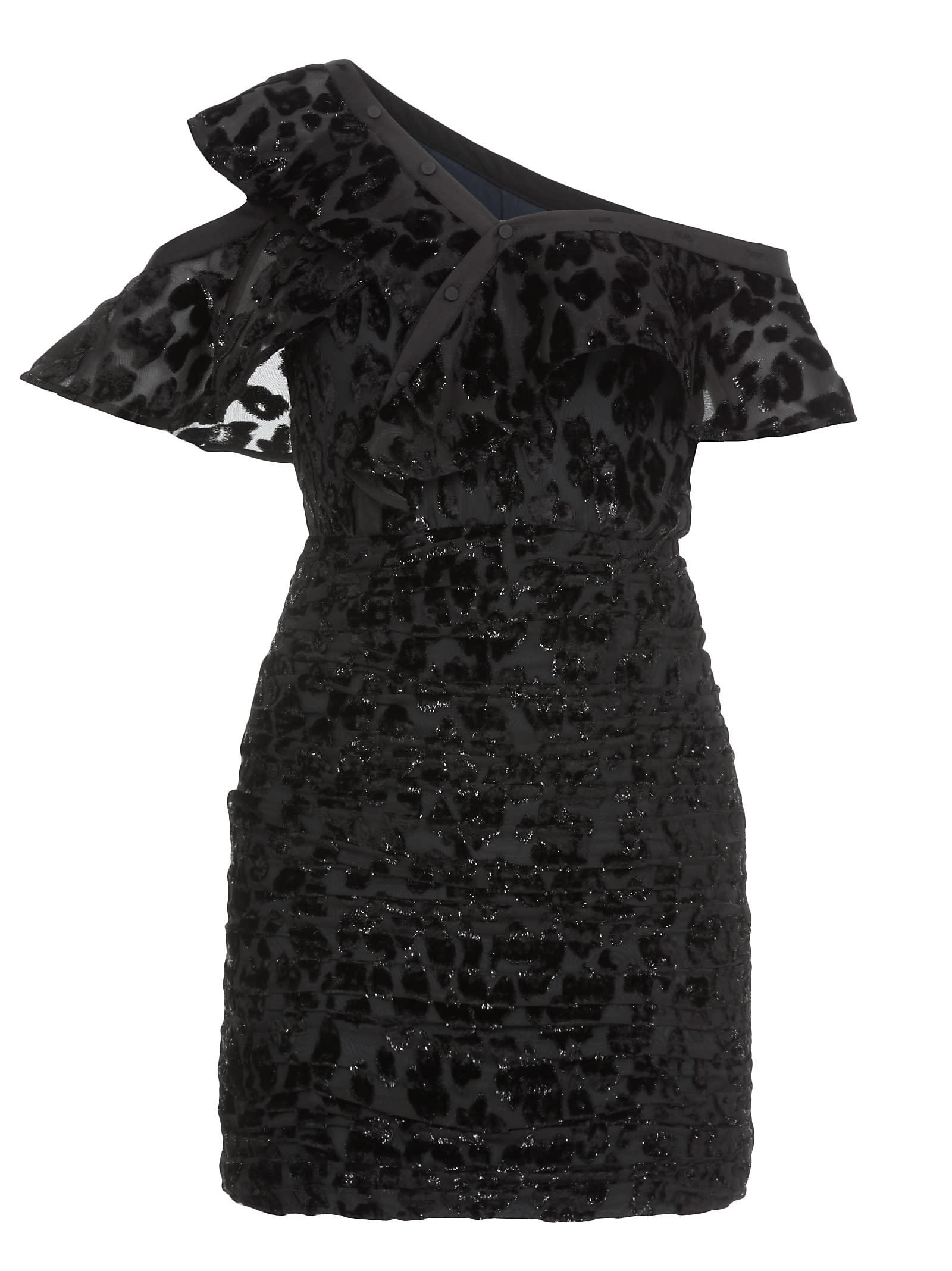 self-portrait Metallic Leopard Frill Dress
