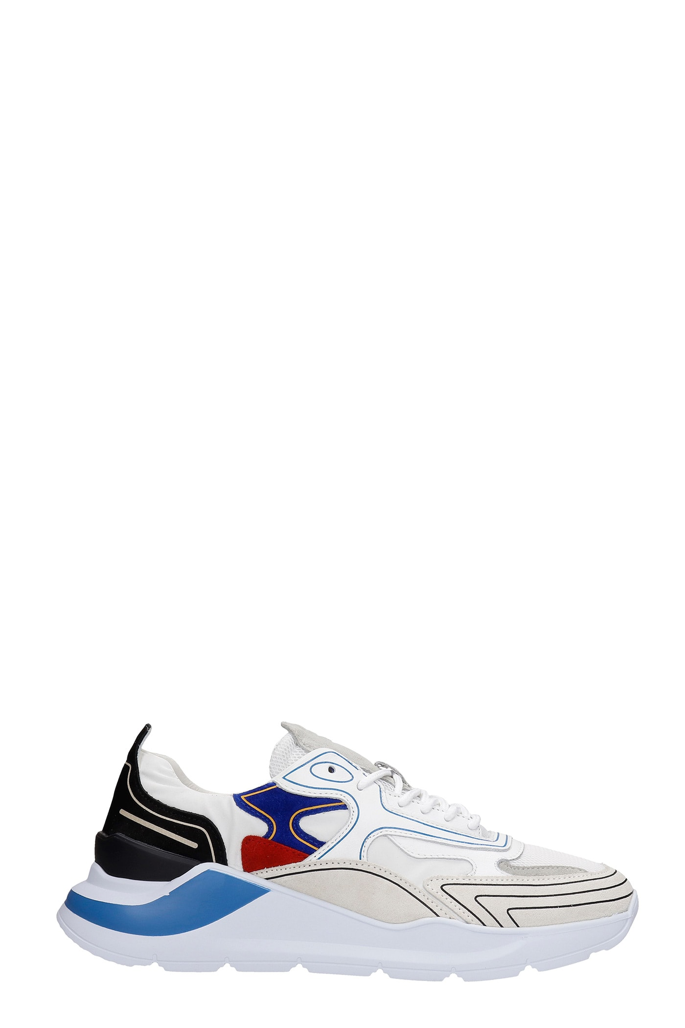 Fuga Sneakers In White Suede And Leather