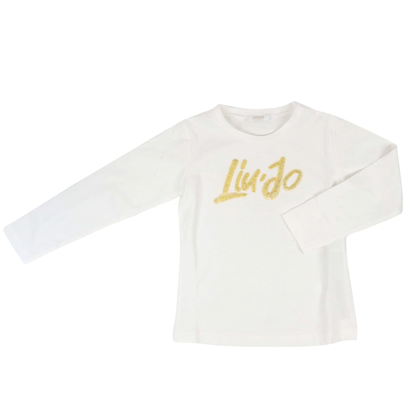 Liu •jo Kids' Cotton T-shirt In White