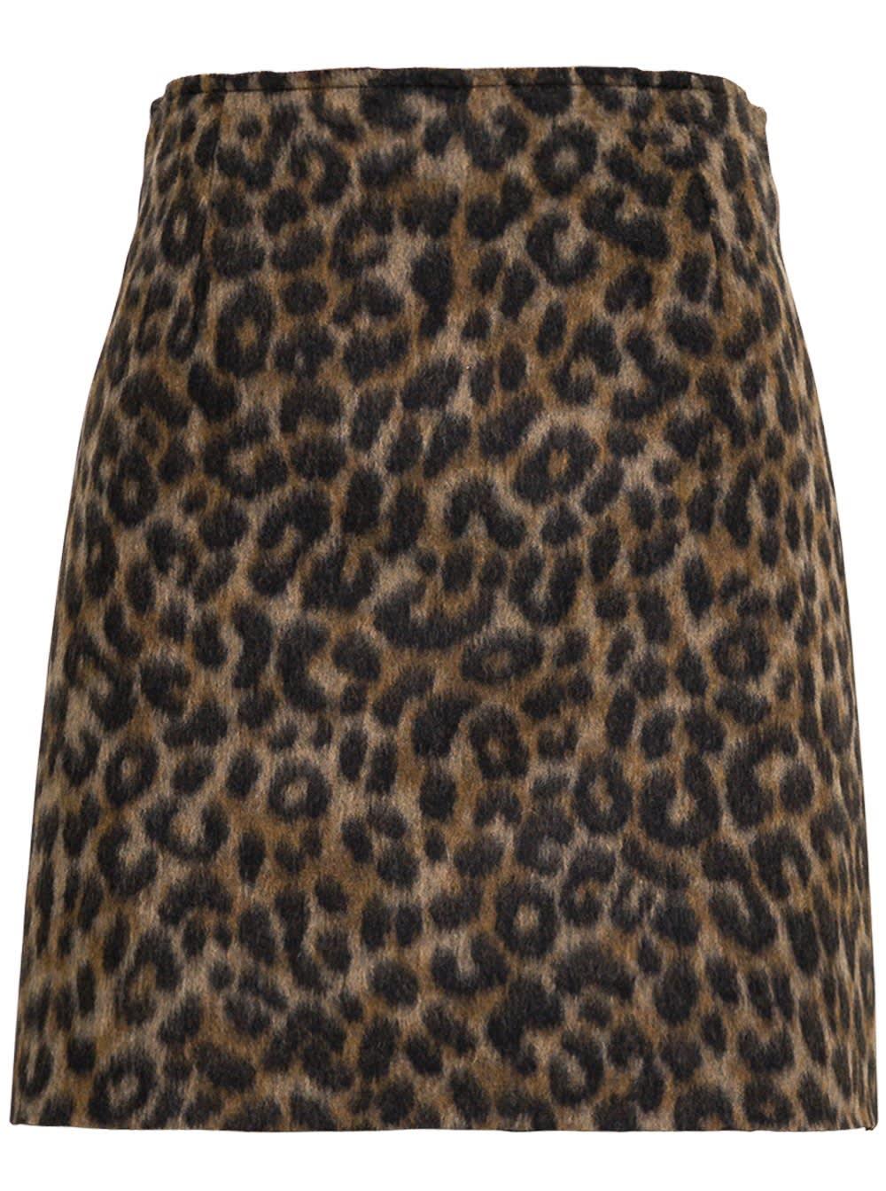 Animalier Wool Blend Skirt