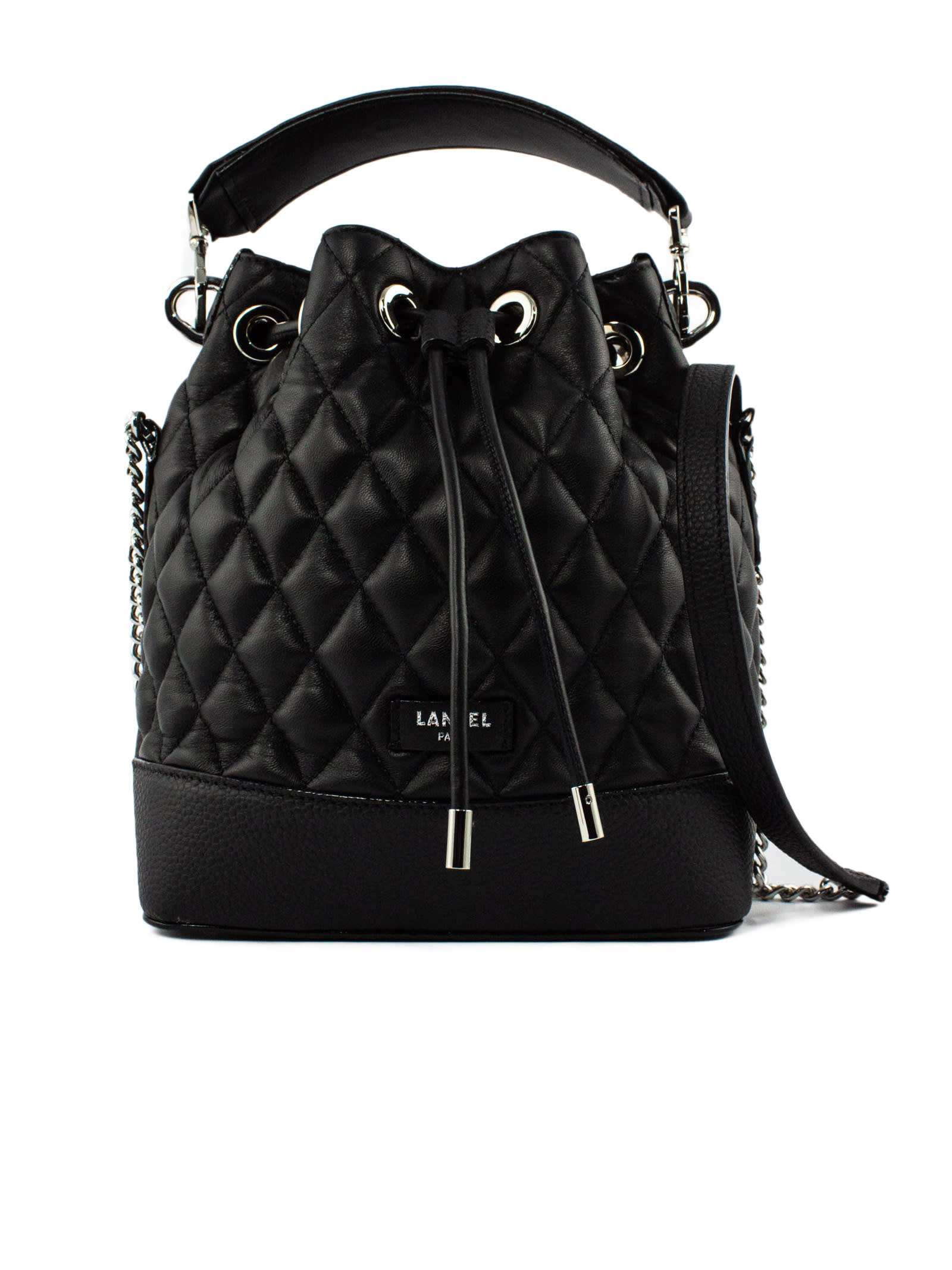 Black Quilted Leather Bucket Bag
