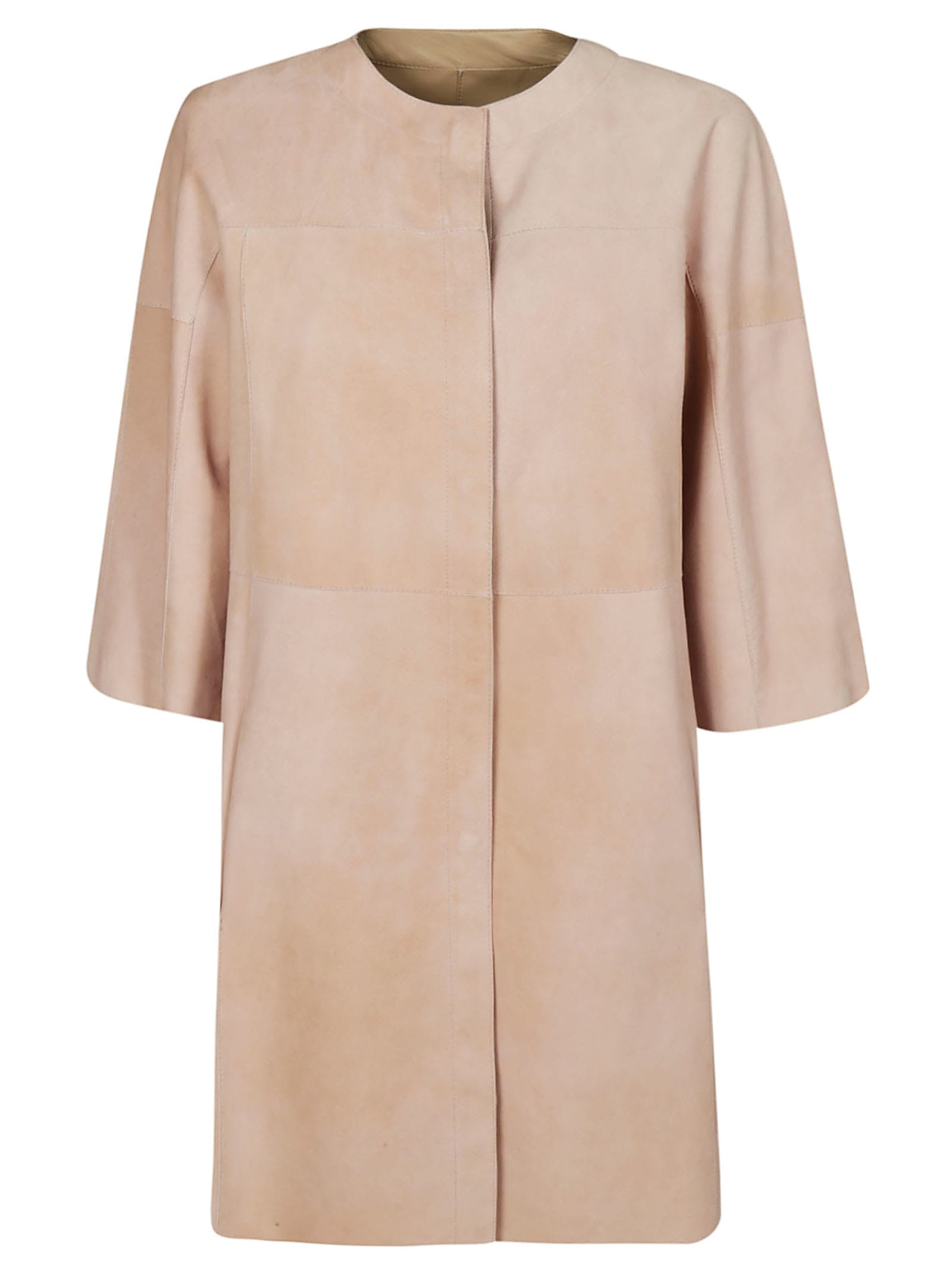 DROMe Collarless Leather Coat