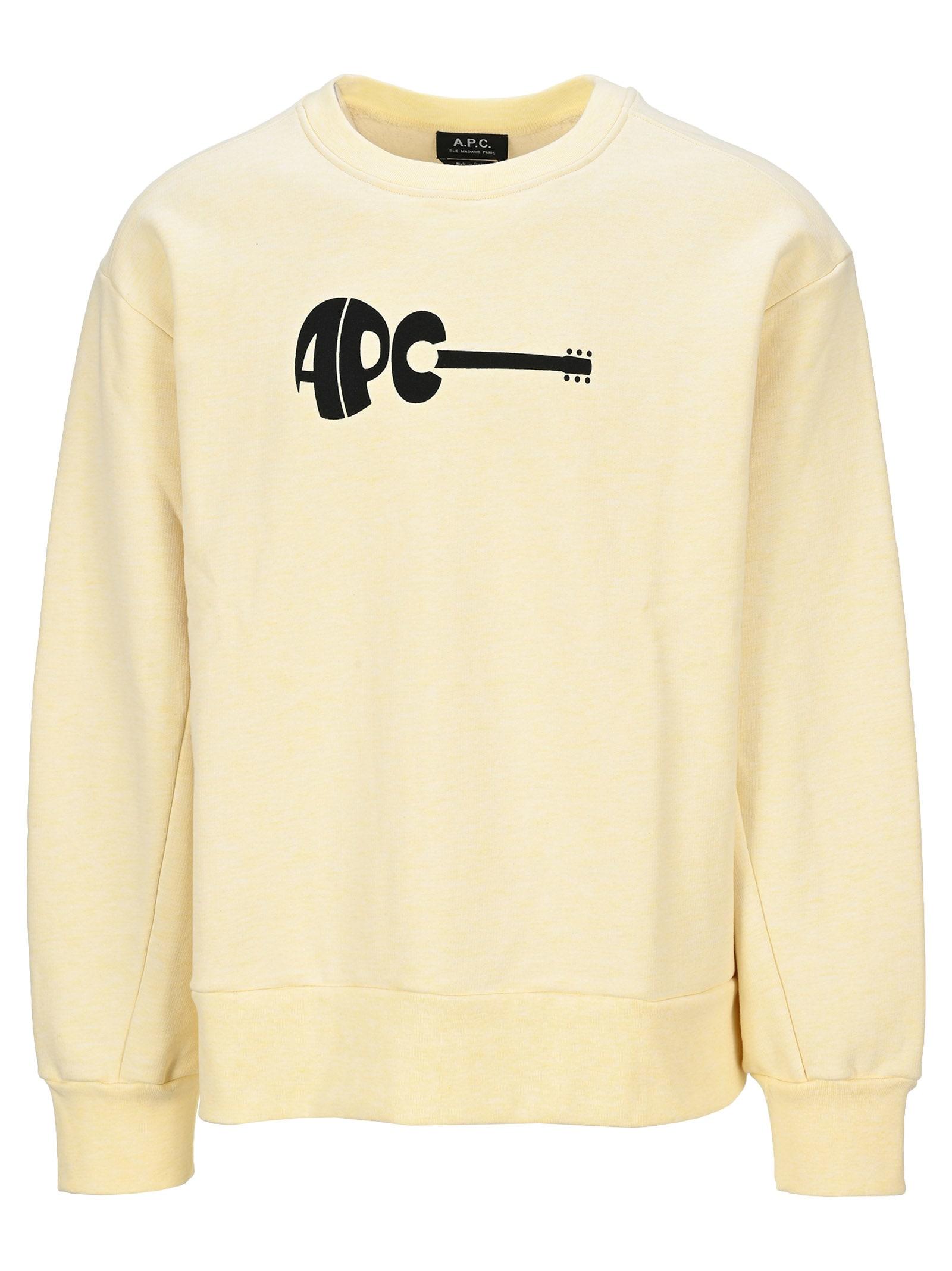 A.p.c. Guitar Crewneck Swetshirt In Yellow Ocra