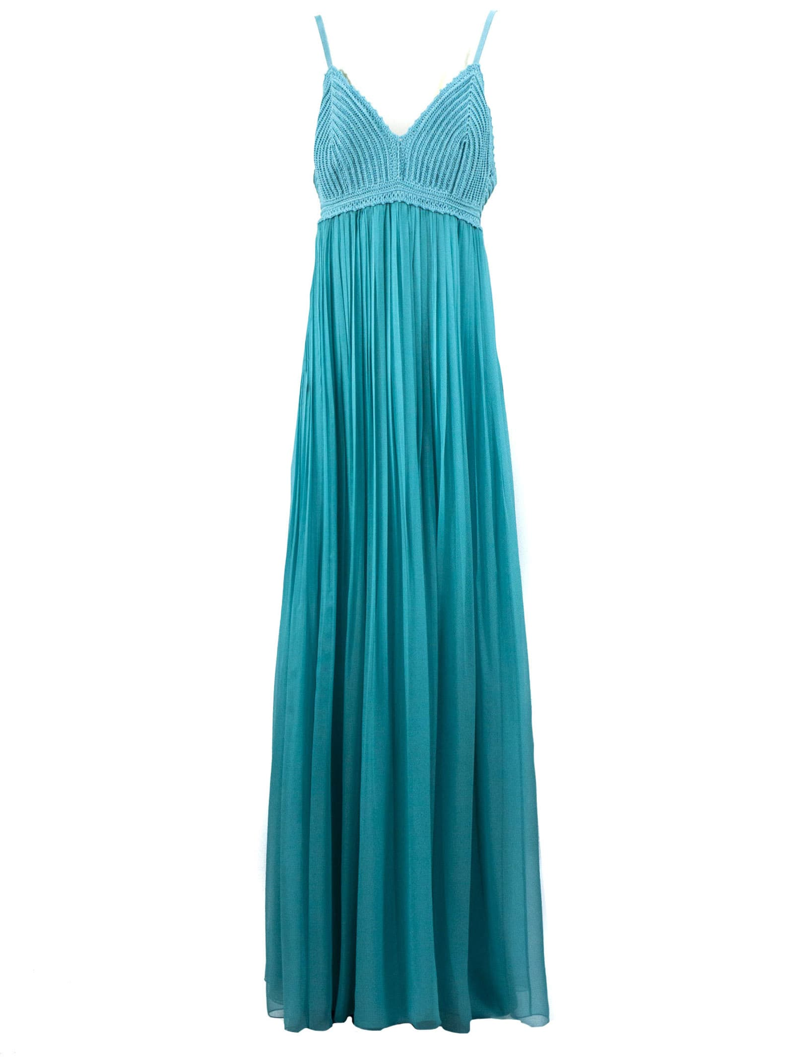 Alberta Ferretti Turquoise Silk Chiffon Dress