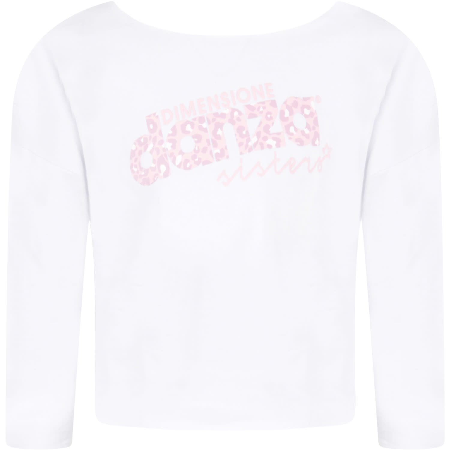 White Sweatshirt For Girl With Pink Logo