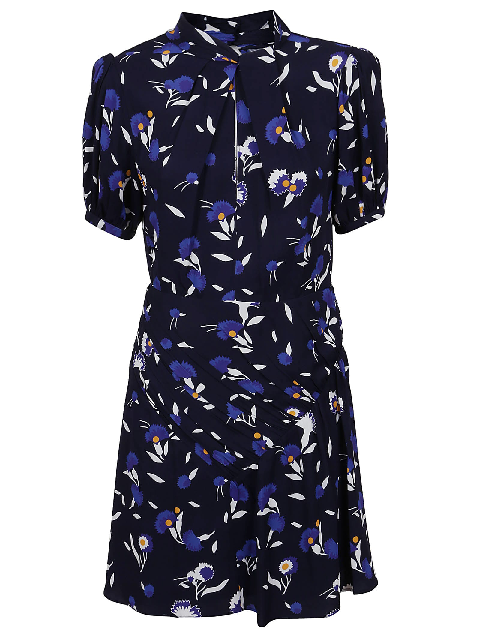 self-portrait Navy Botanical Printed Mini Dress