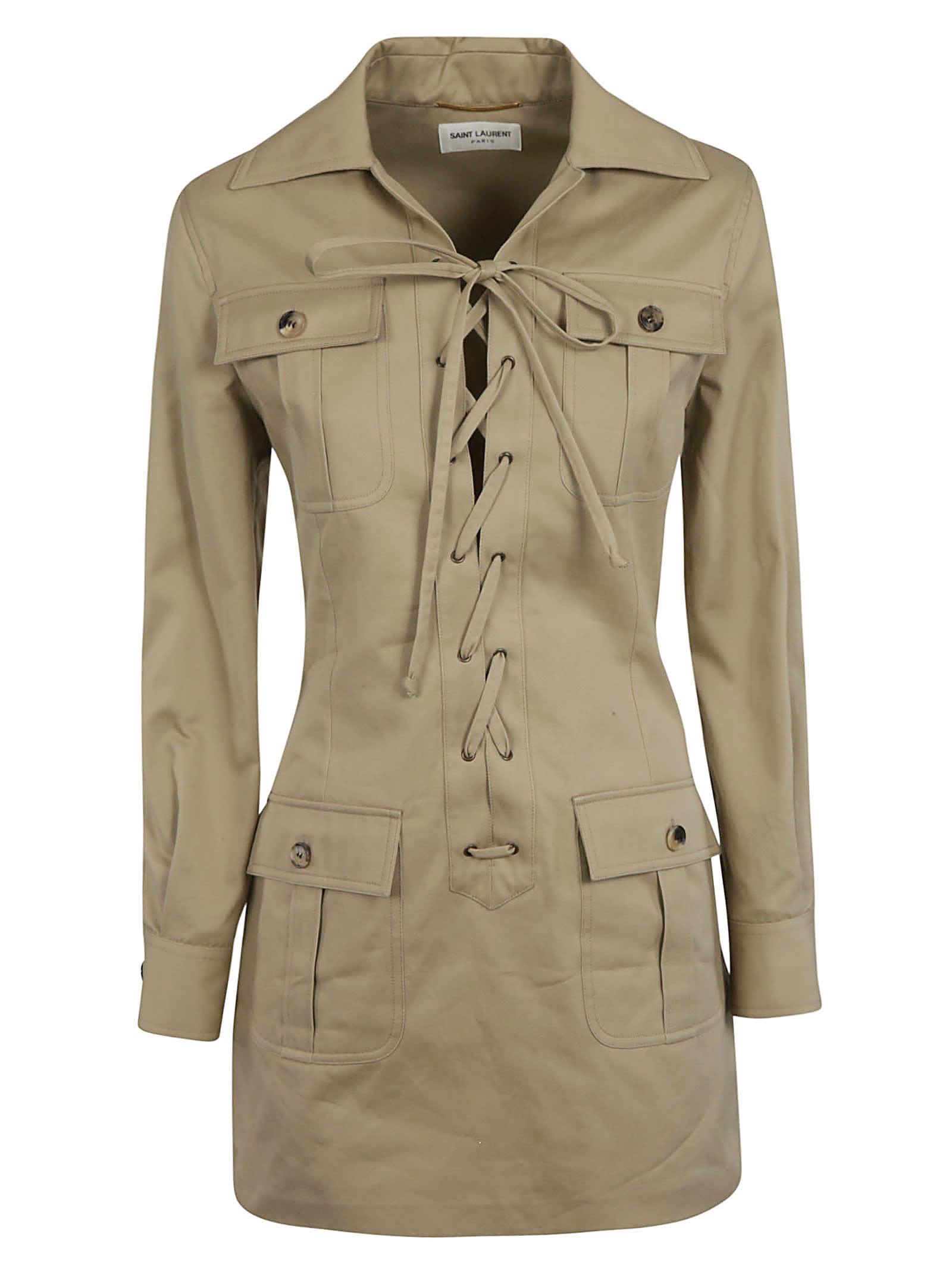 Buy Saint Laurent Tied Detail Woven Dress online, shop Saint Laurent with free shipping