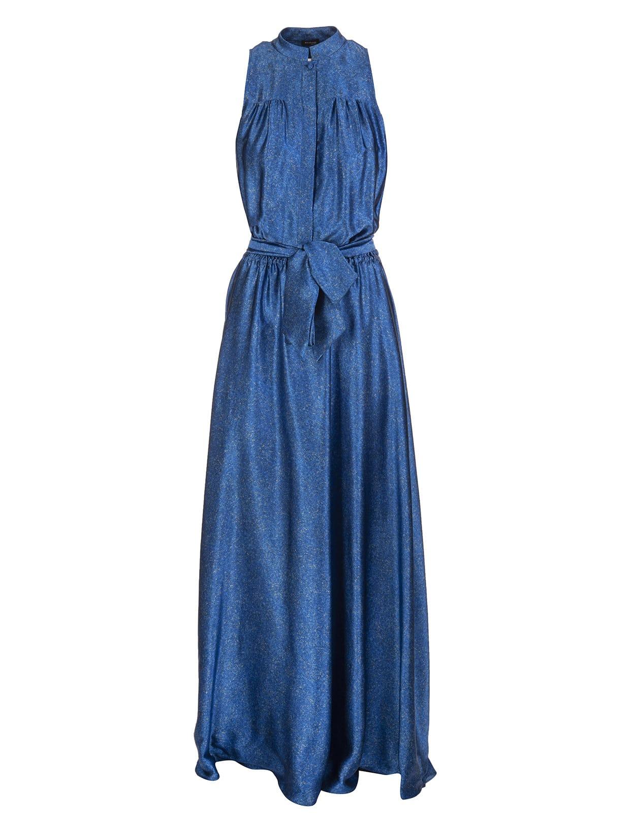 Buy Kiton Fantasia Blue Metallic Belted Silk Gown online, shop Kiton with free shipping