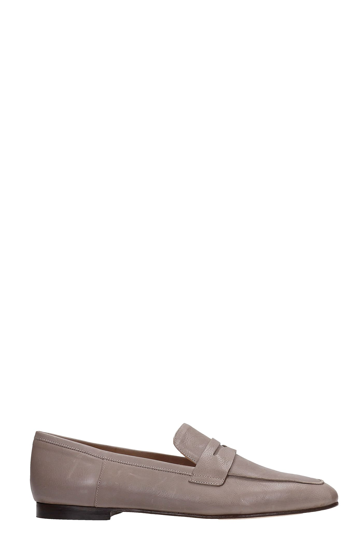 Loafers In Grey Leather