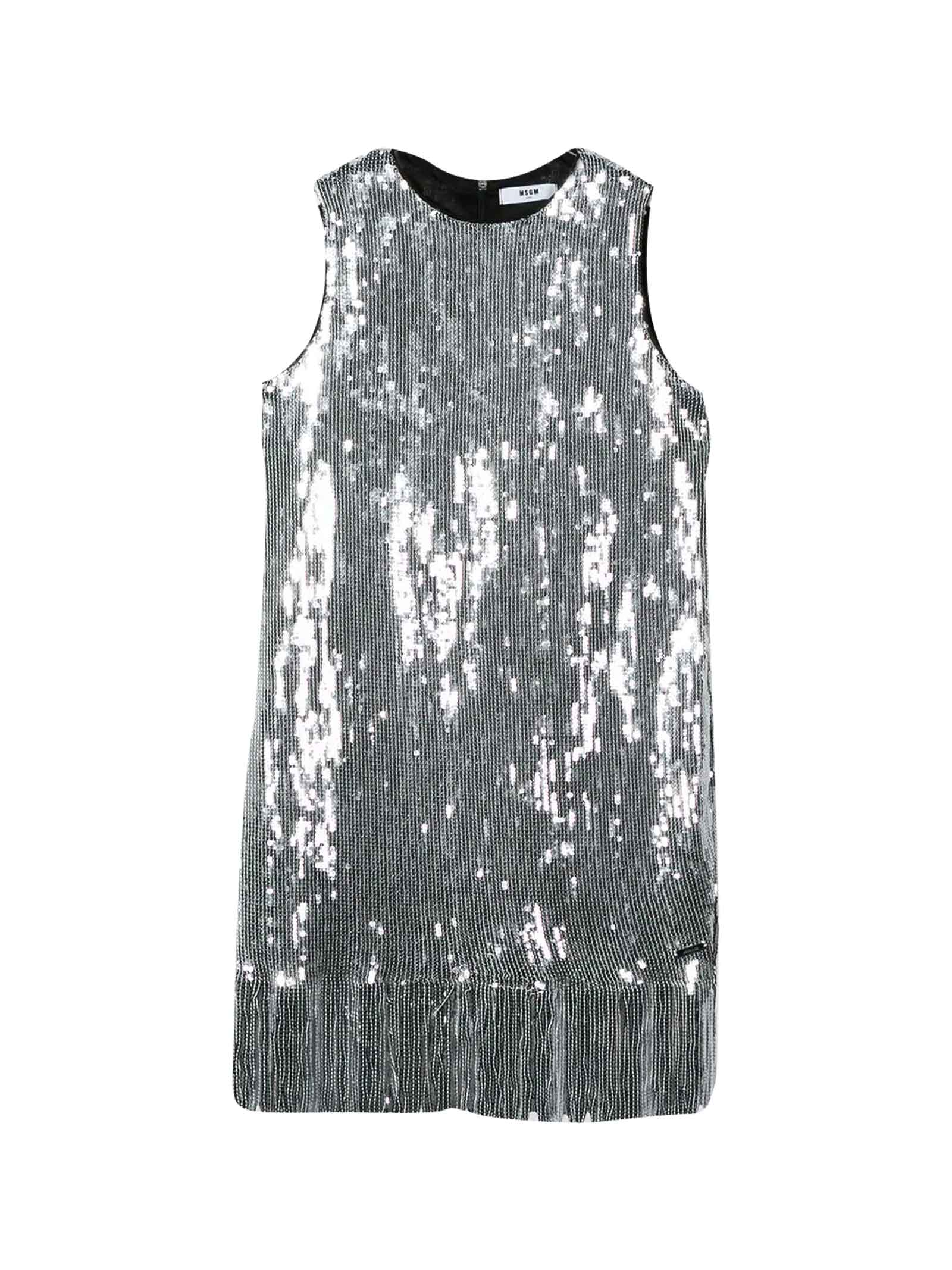 Buy MSGM Teen Silver Dress With Sequins online, shop MSGM with free shipping