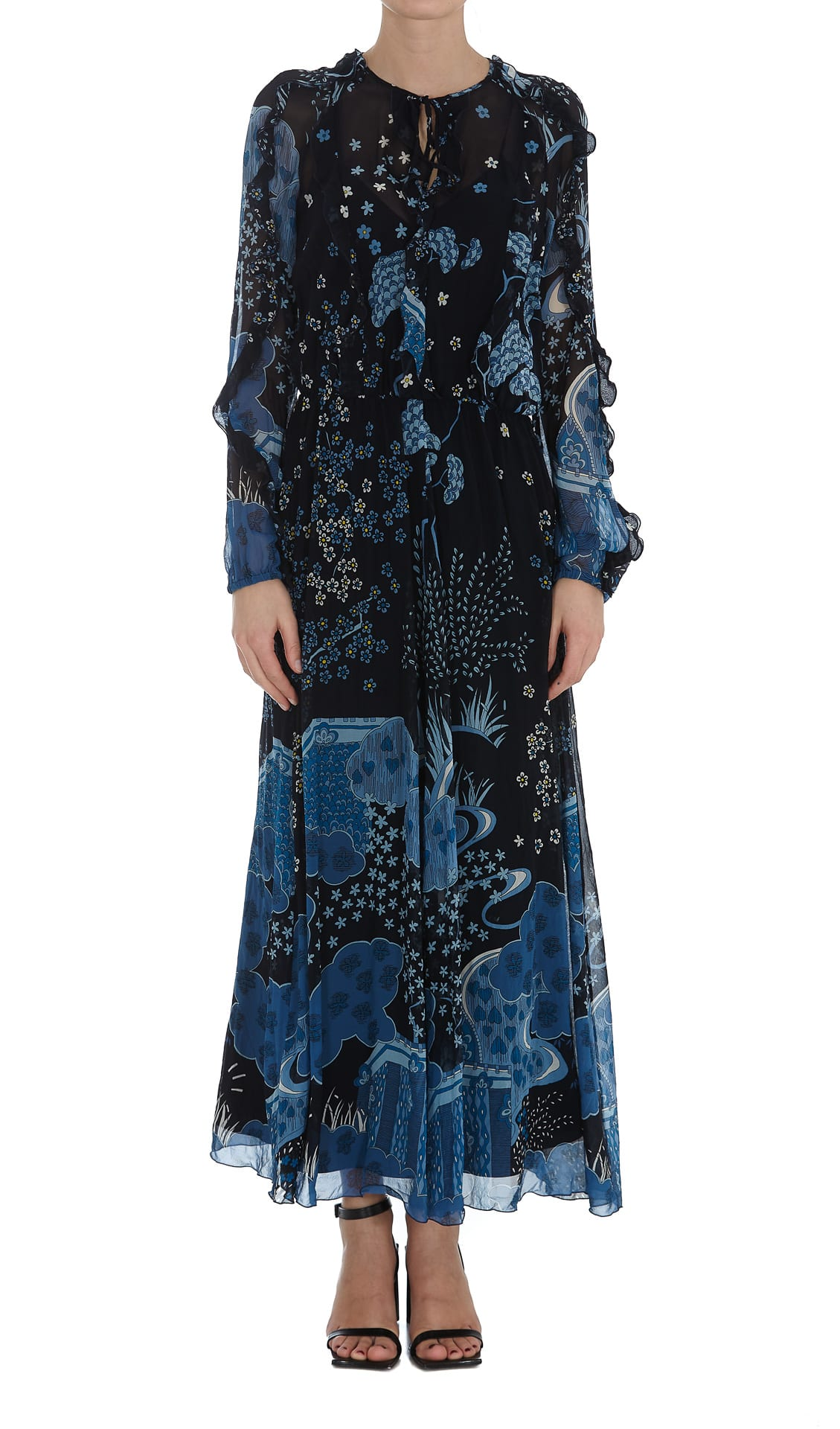 Buy Oriental Toile De Jouy Printed Dress online, shop RED Valentino with free shipping