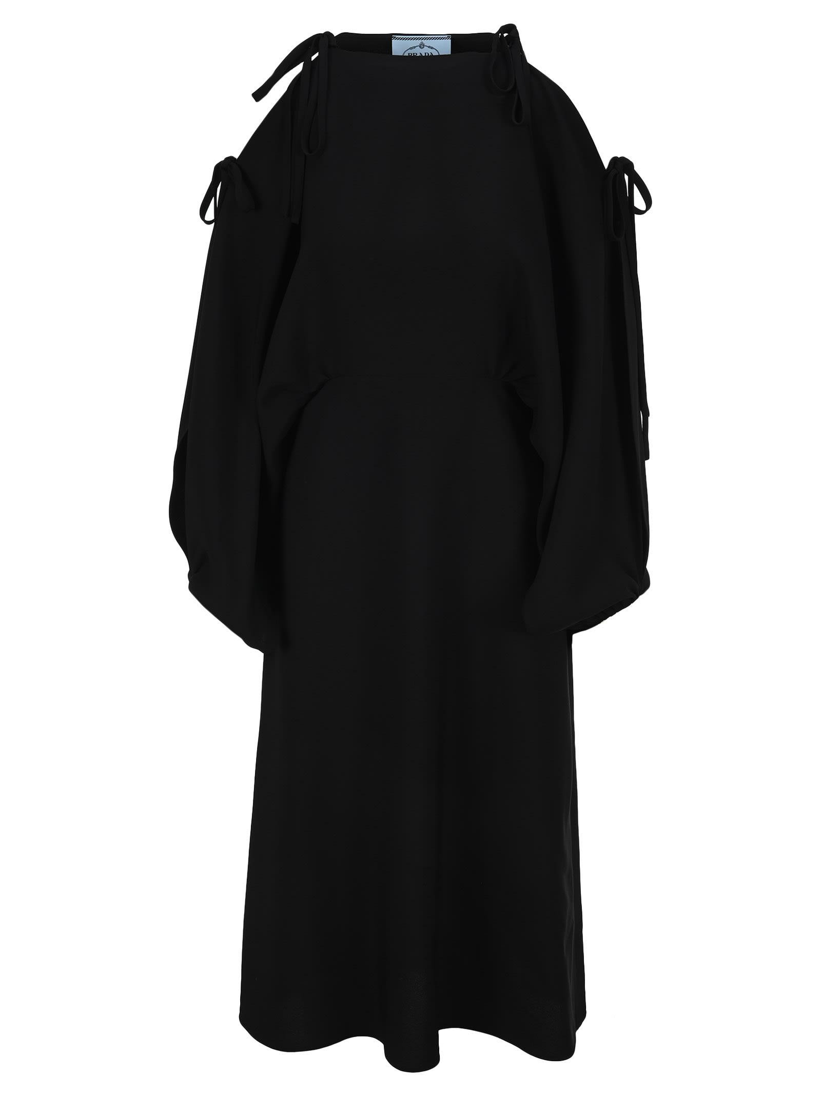 Buy Prada Cold-shoulder Midi Dress online, shop Prada with free shipping