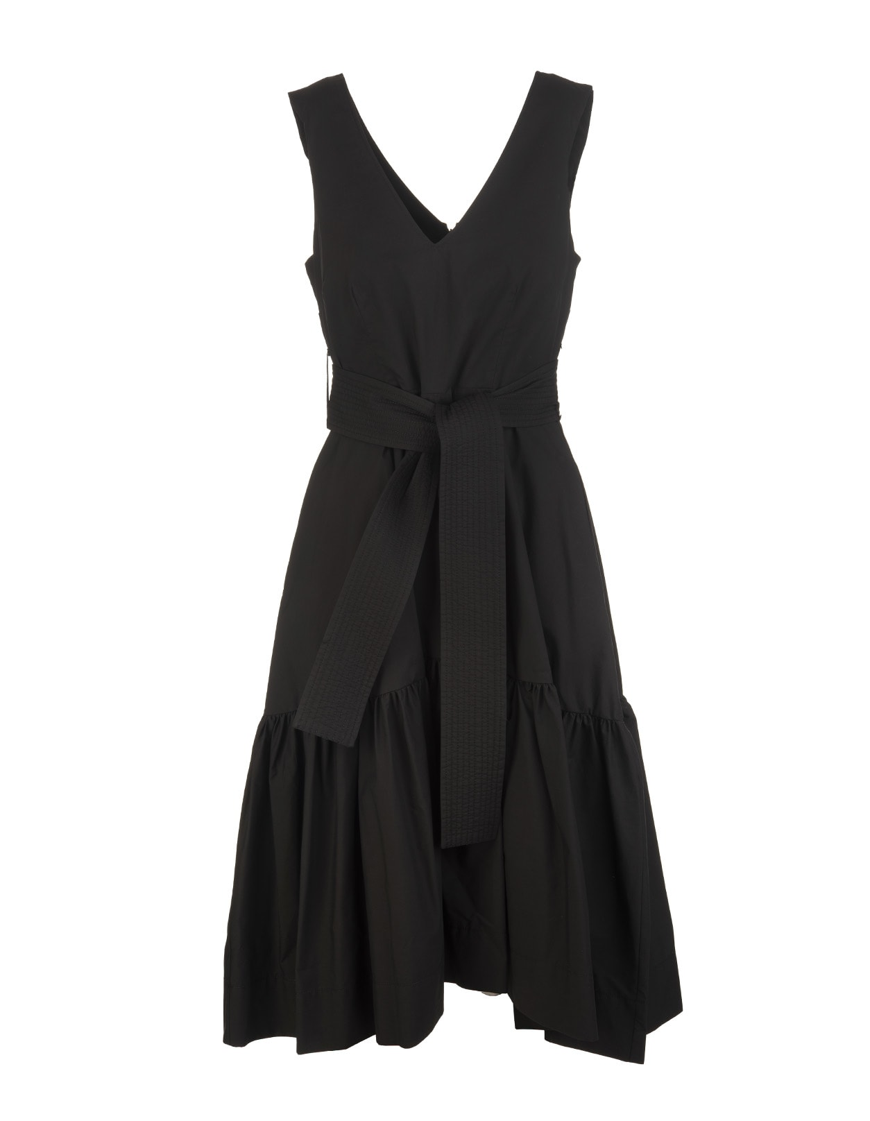 A.R.O.H. short dress in black cotton with front and back V-neck, armhole, soft skirt with horizontal bands, back zip closure and waist highlighted by a belt in tone with front knot. Composition: 100% Cotton