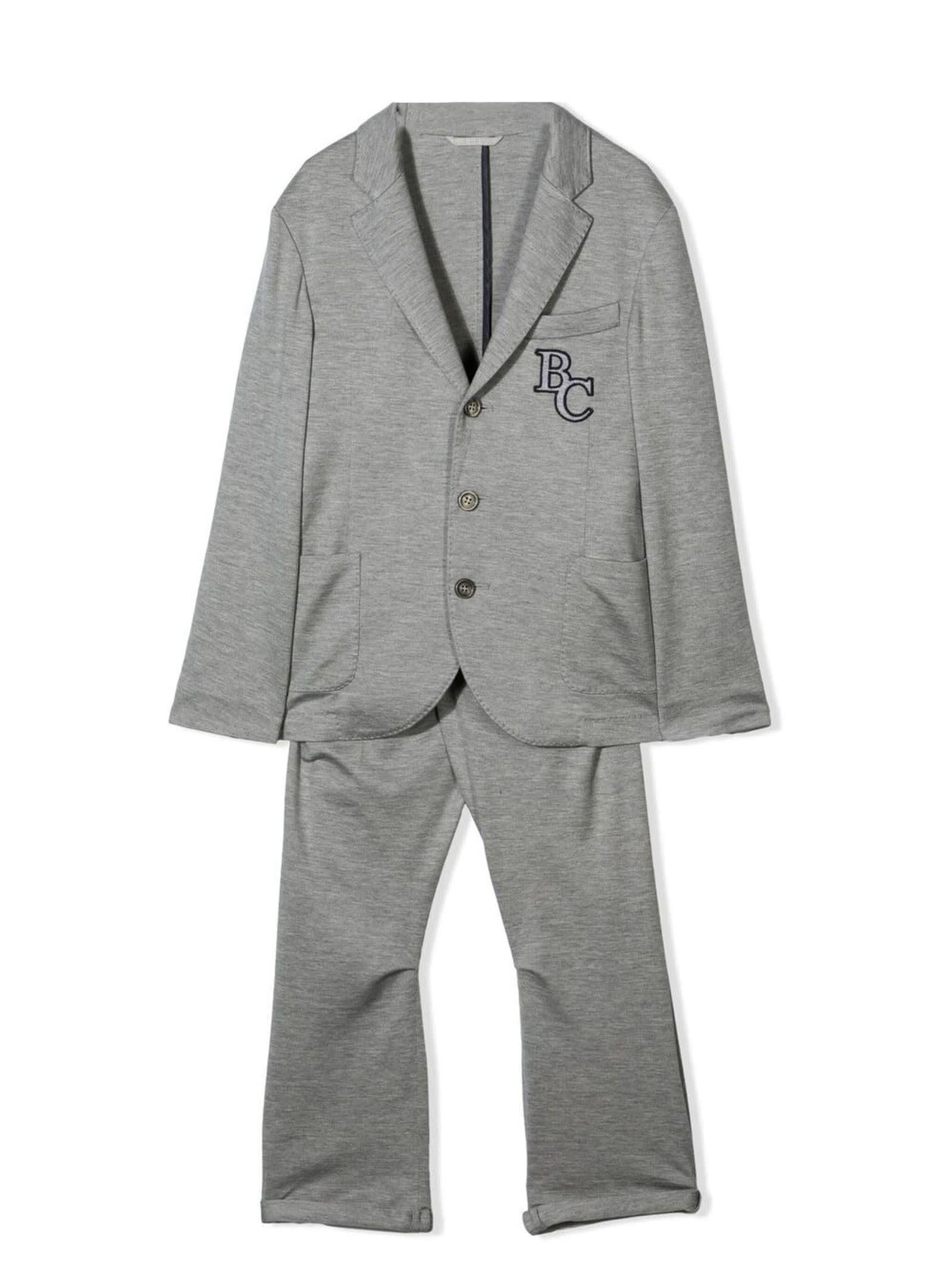 Dark Grey Silk-cotton Blend Two-piece Suit
