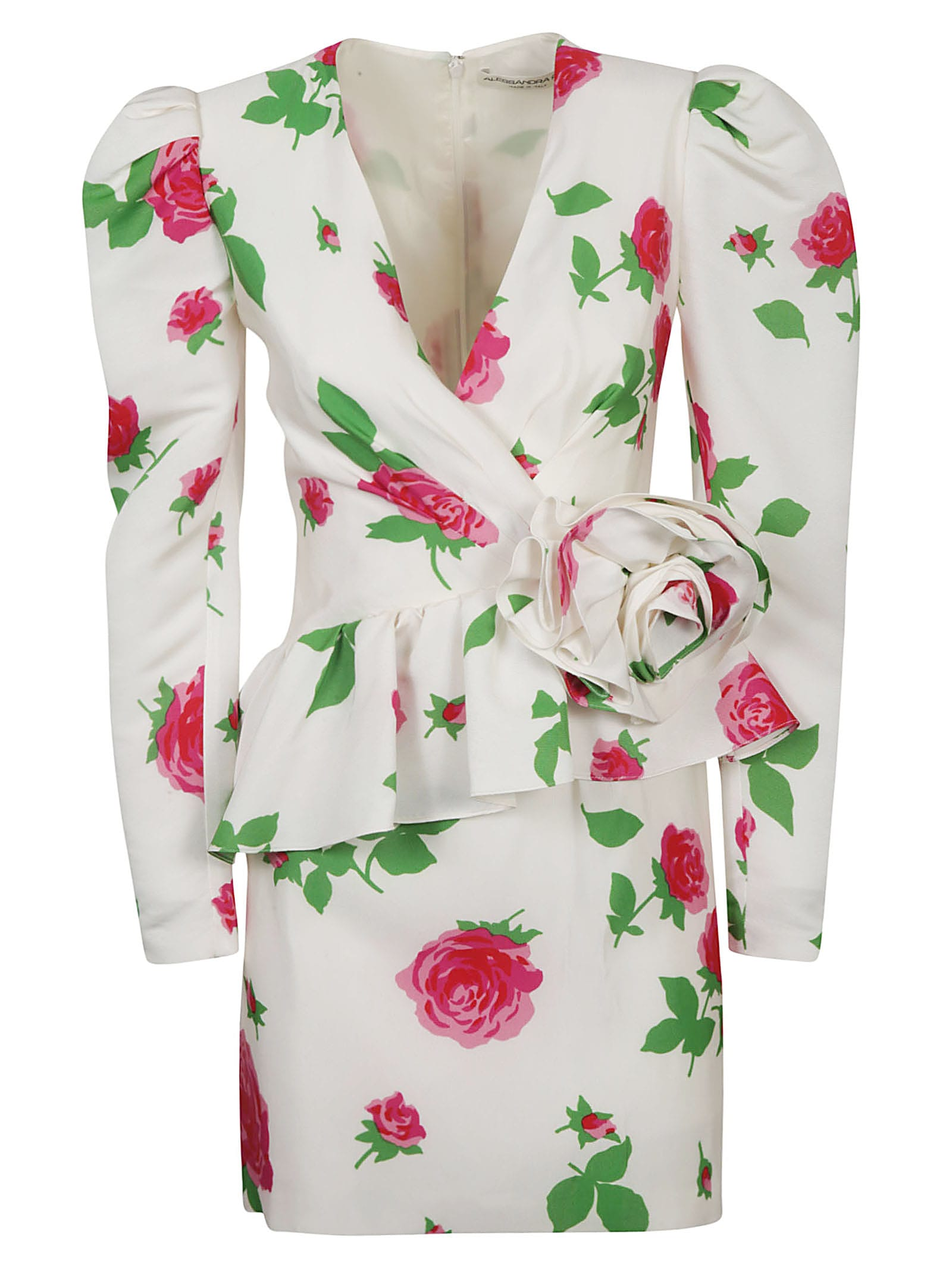 Buy Alessandra Rich Rose Print Faille Mini Dress online, shop Alessandra Rich with free shipping