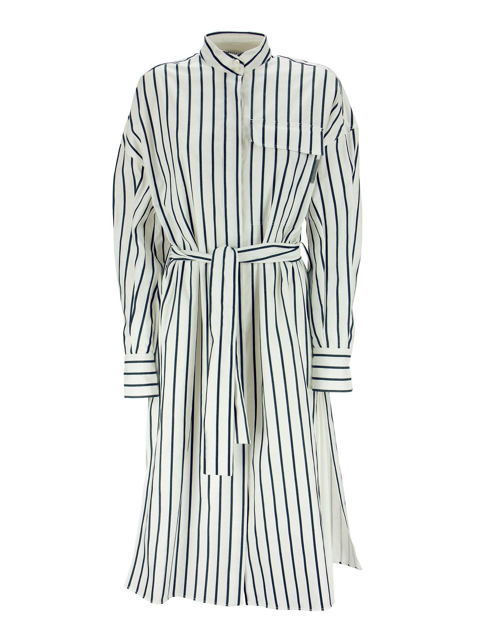 Brunello Cucinelli Cotton Regimental Stripe Poplin Shirt Dress With Belt