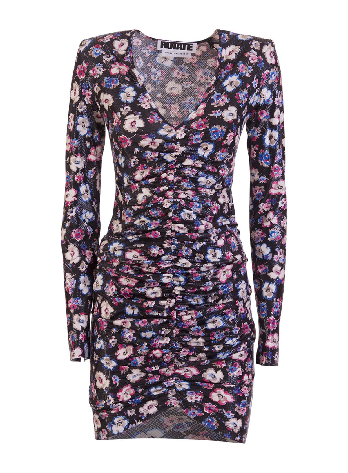 Rotate Birger Christensen Dresses ROTATE FLORAL PRINT TEXTURED MINI DRESS
