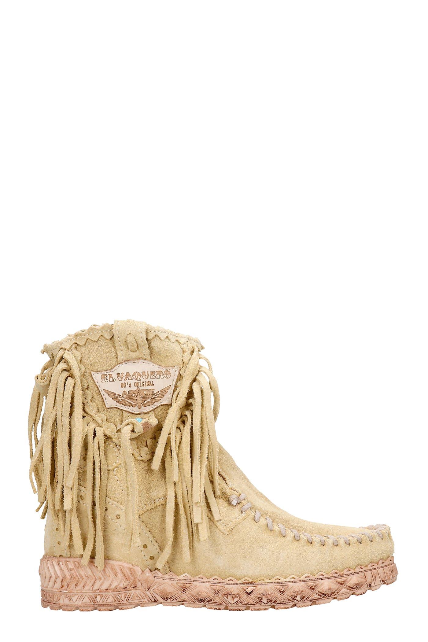 Cloe Ankel Boots Inside Wedge In Beige Suede