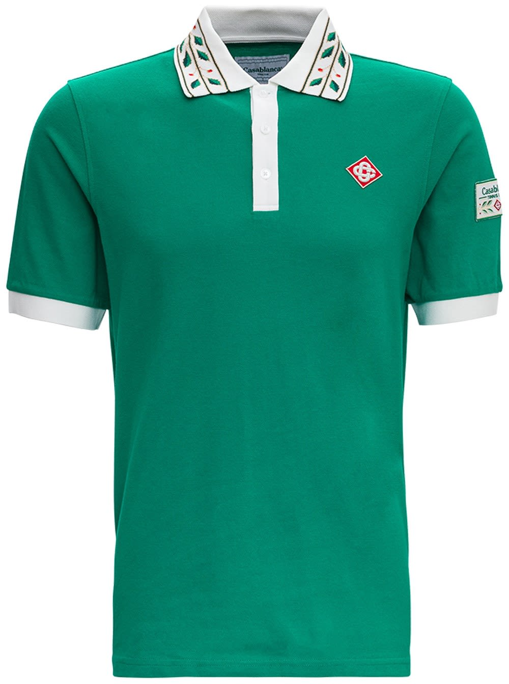 Casablanca Shirts LAUREL CLASSIC POLO SHIRT IN GREEN COTTON