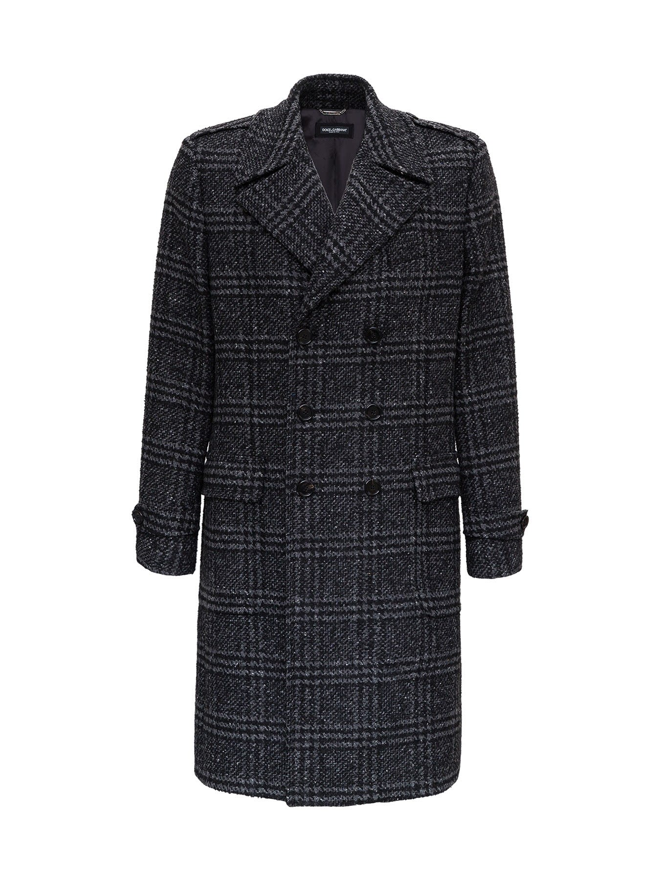 Dolce & Gabbana WOOLEN DOUBLE-BREASTED COAT WITH CHECK PATTERN