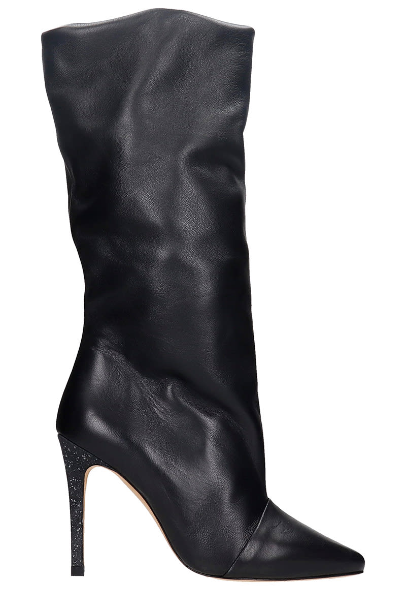 Iro SCABBIA HIGH HEELS BOOTS IN BLACK LEATHER
