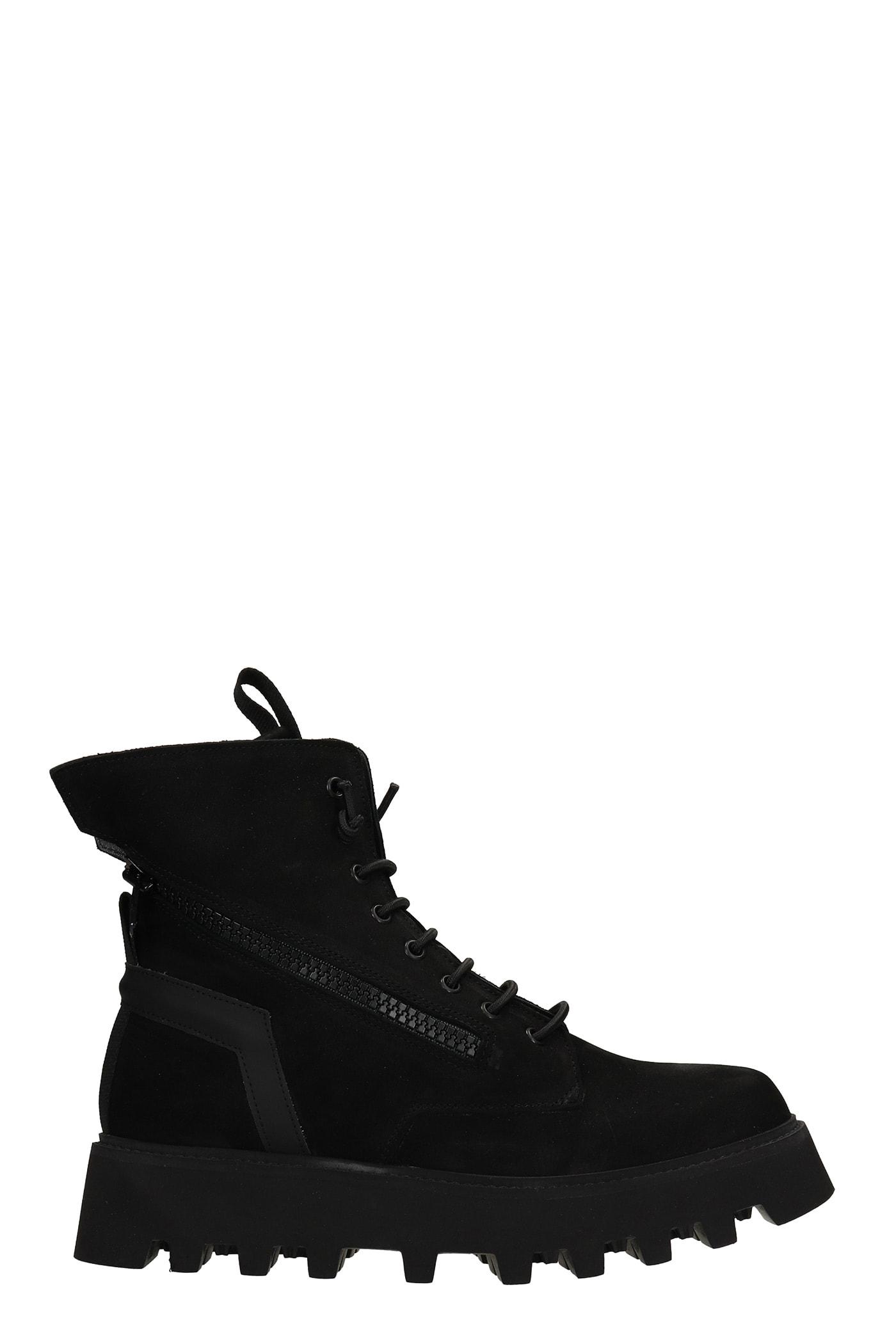 Doc Combat Boots In Black Nubuck