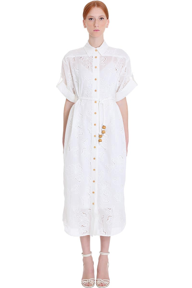 Buy Zimmermann Dress In White Cotton online, shop Zimmermann with free shipping