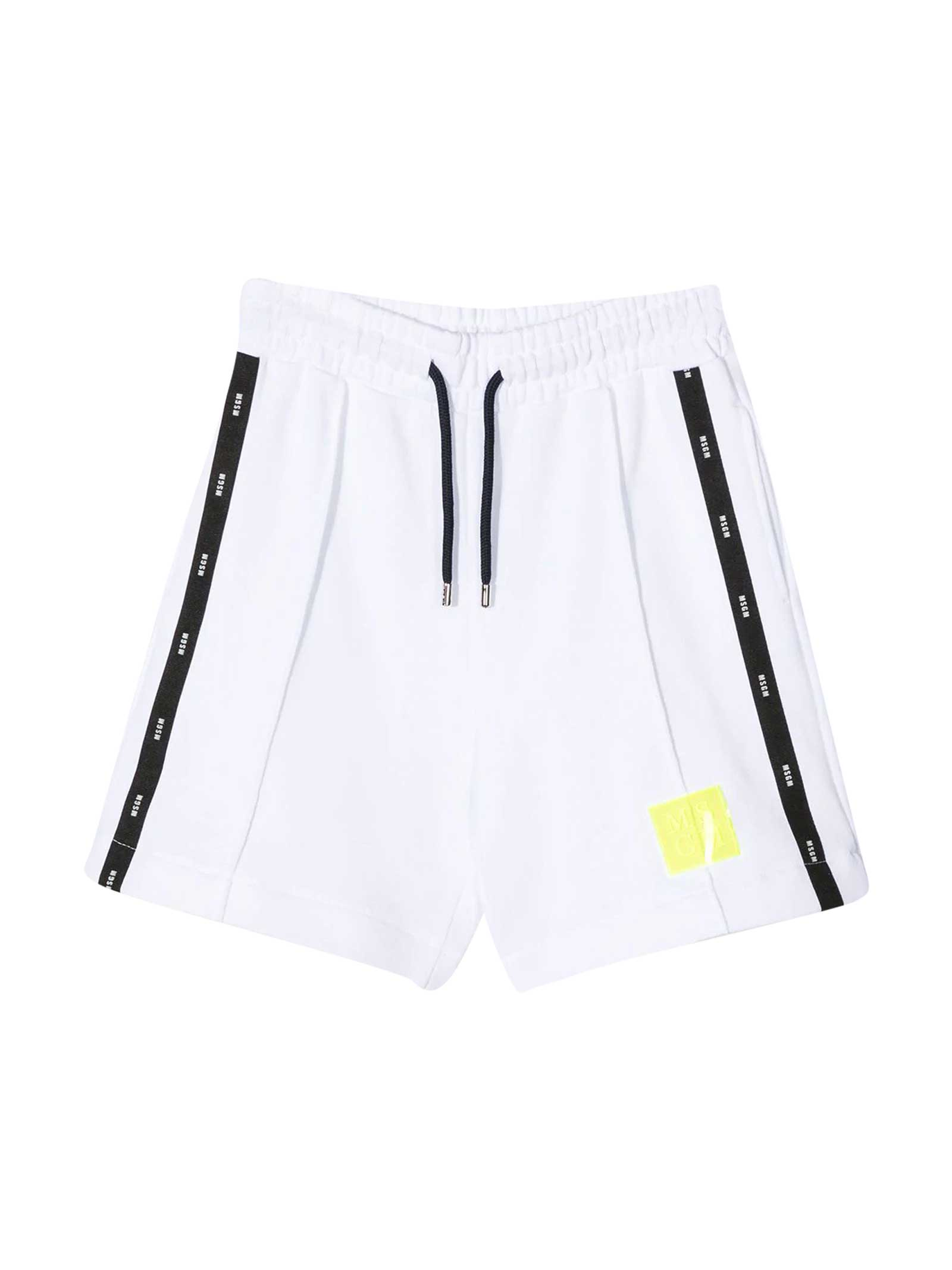 Msgm WHITE TEEN BERMUDA SHORTS