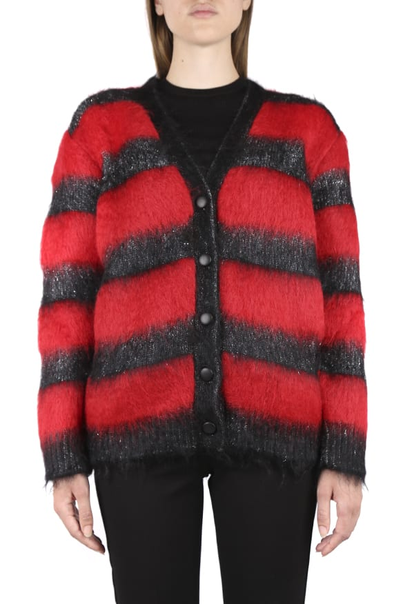 Saint Laurent RED CARDIGAN IN MOHAIR AND LUREX BLEND