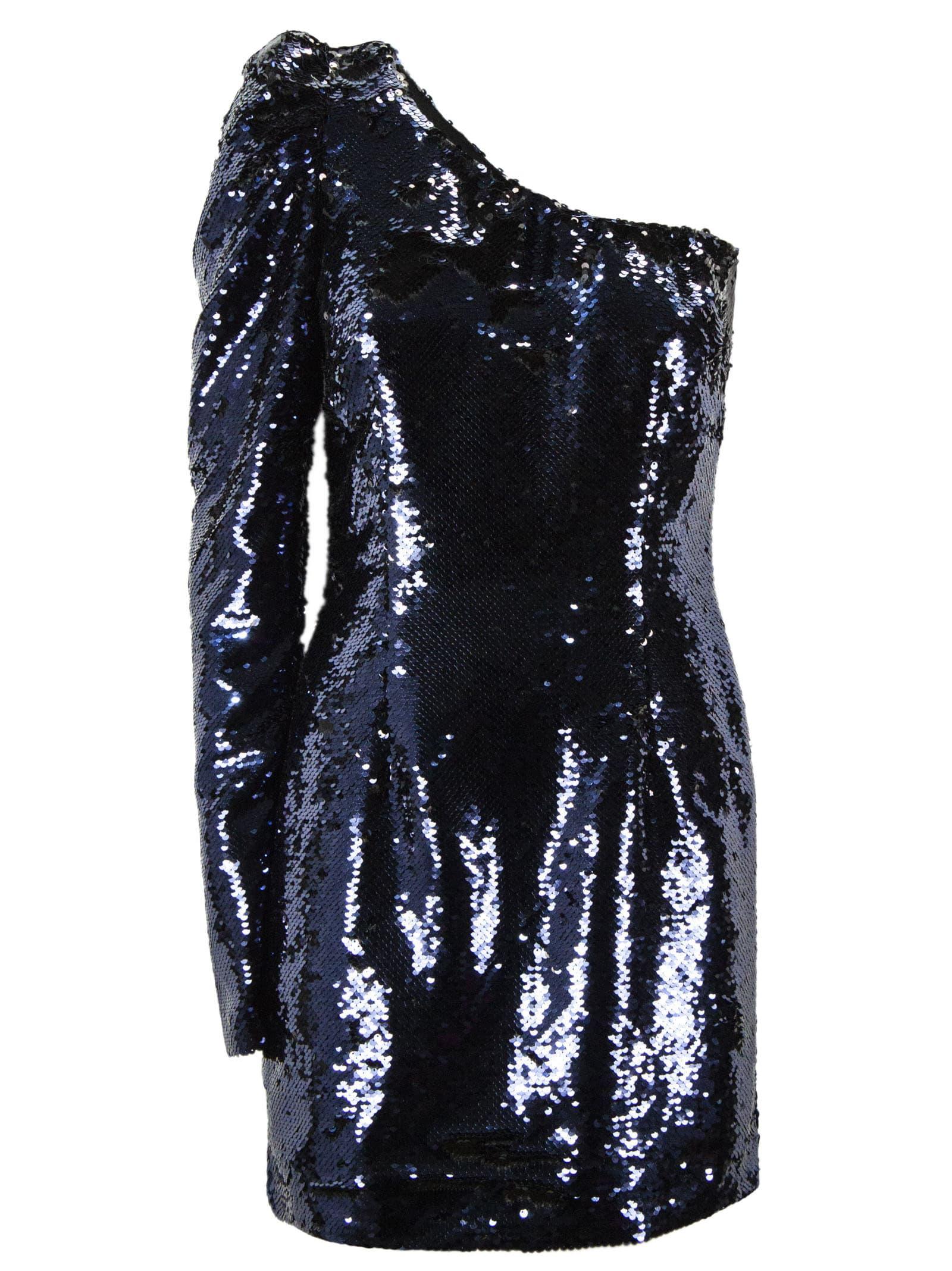 Amen Blue Off Shoulder Sequin Dress