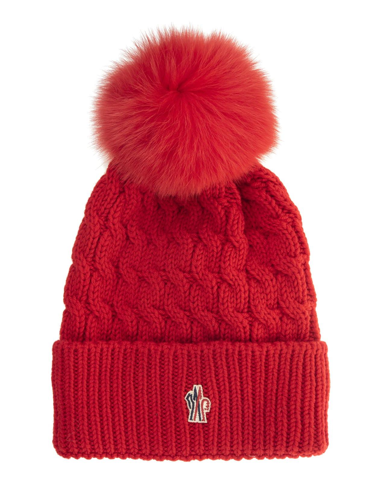 Red apres Ski Moncler Grenoble Woman Hat